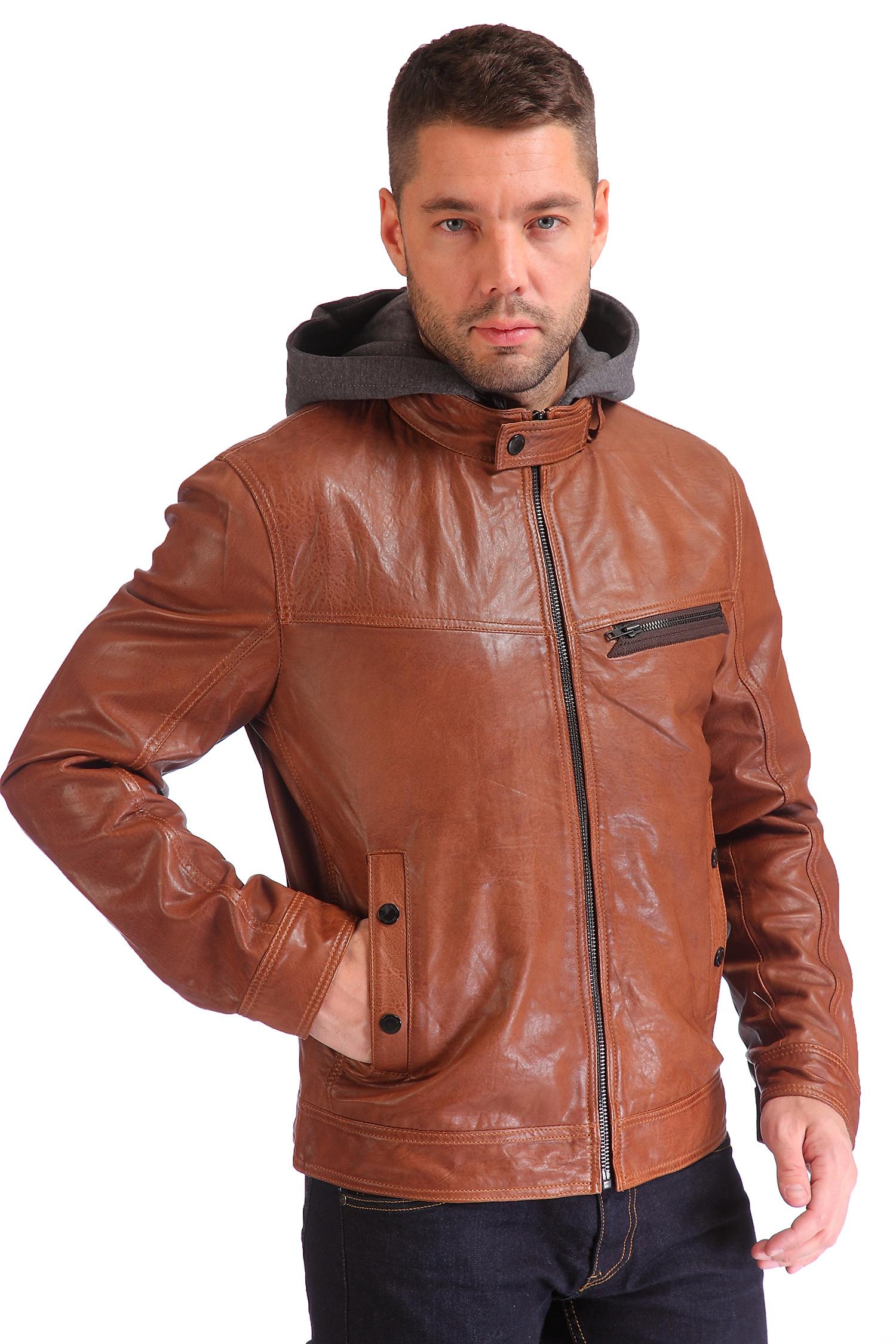 Мужская кожаная куртка из натуральной кожи утепленная с капюшоном<br><br>Длина см: Короткая (51-74 )<br>Материал: Кожа овчина<br>Цвет: коричневый<br>Застежка: на молнии<br>Пол: Мужской<br>Размер RU: 58