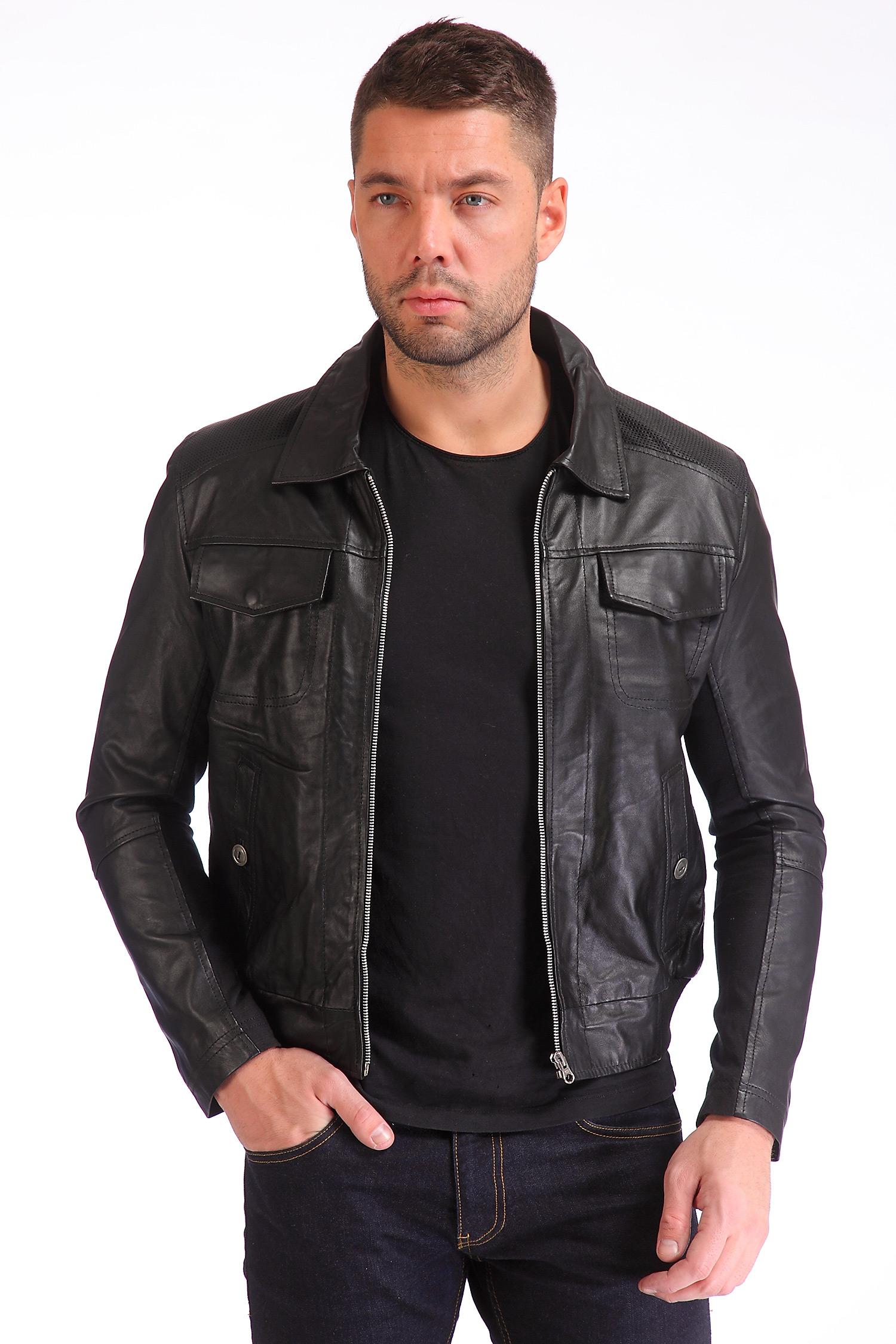 Мужская кожаная куртка из натуральной кожи<br><br>Воротник: отложной<br>Длина см: Короткая (51-74 )<br>Материал: Кожа овчина<br>Цвет: черный<br>Вид застежки: центральная<br>Застежка: на молнии<br>Пол: Мужской<br>Размер RU: 48