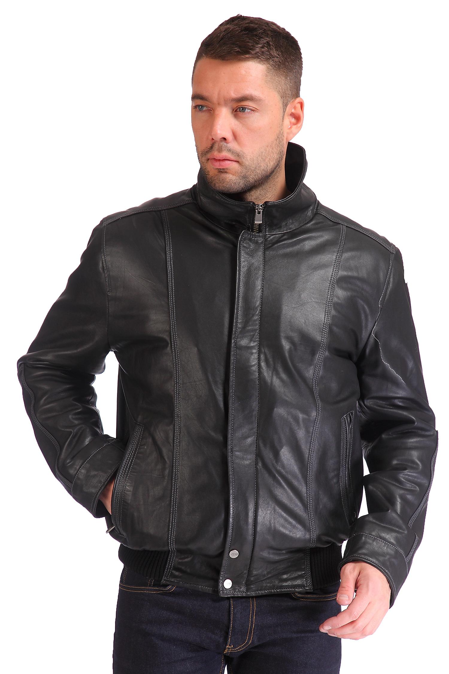 Мужская кожаная куртка из натуральной кожи<br><br>Воротник: стойка<br>Длина см: Короткая (51-74 )<br>Материал: Кожа овчина<br>Цвет: черный<br>Вид застежки: потайная<br>Застежка: на молнии<br>Пол: Мужской<br>Размер RU: 54
