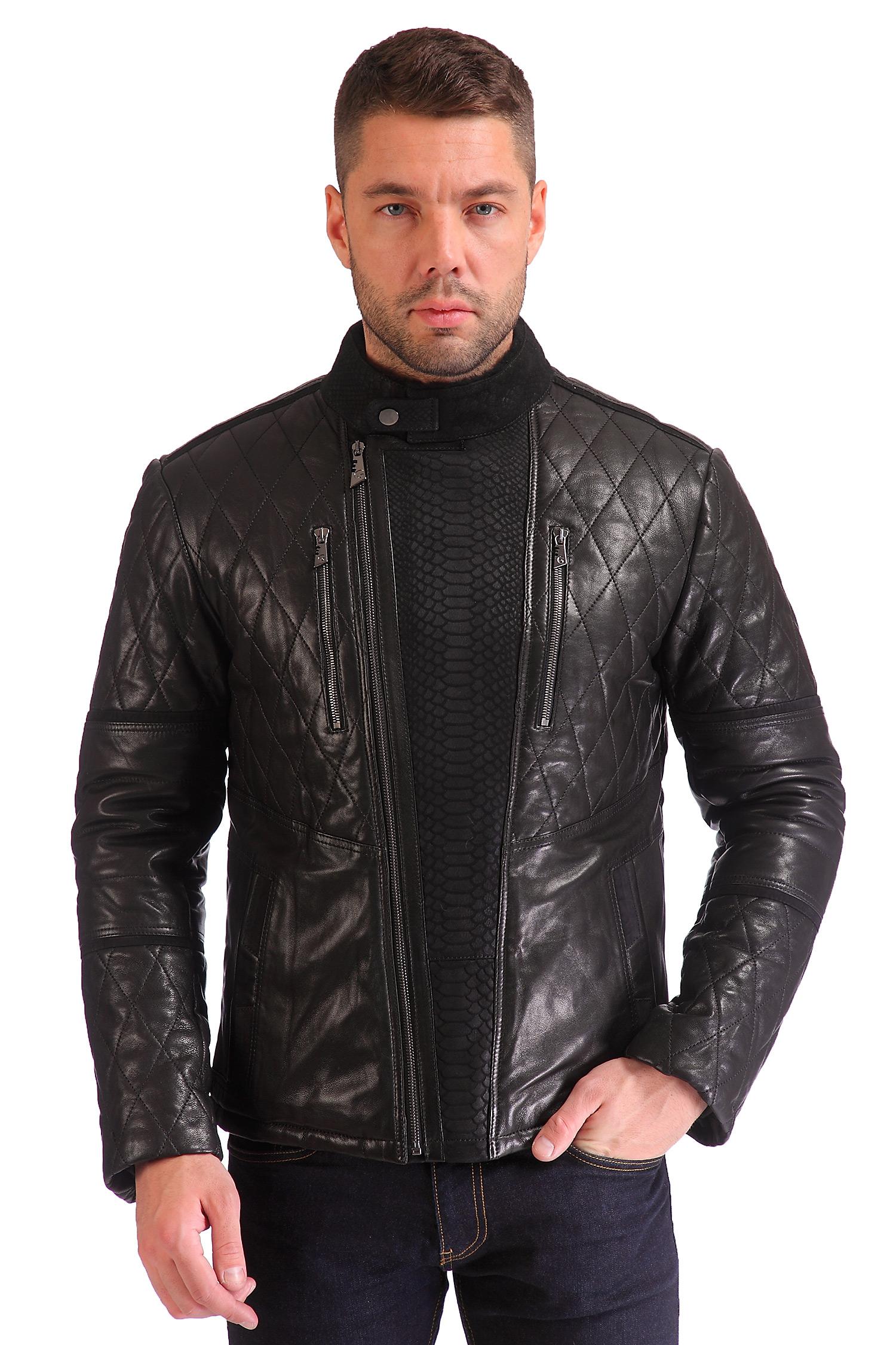 Мужская кожаная куртка утепленная, отделка овчина<br><br>Воротник: стойка<br>Длина см: Короткая (51-74 )<br>Материал: Кожа овчина<br>Цвет: черный<br>Вид застежки: косая<br>Застежка: на молнии<br>Пол: Мужской<br>Размер RU: 50