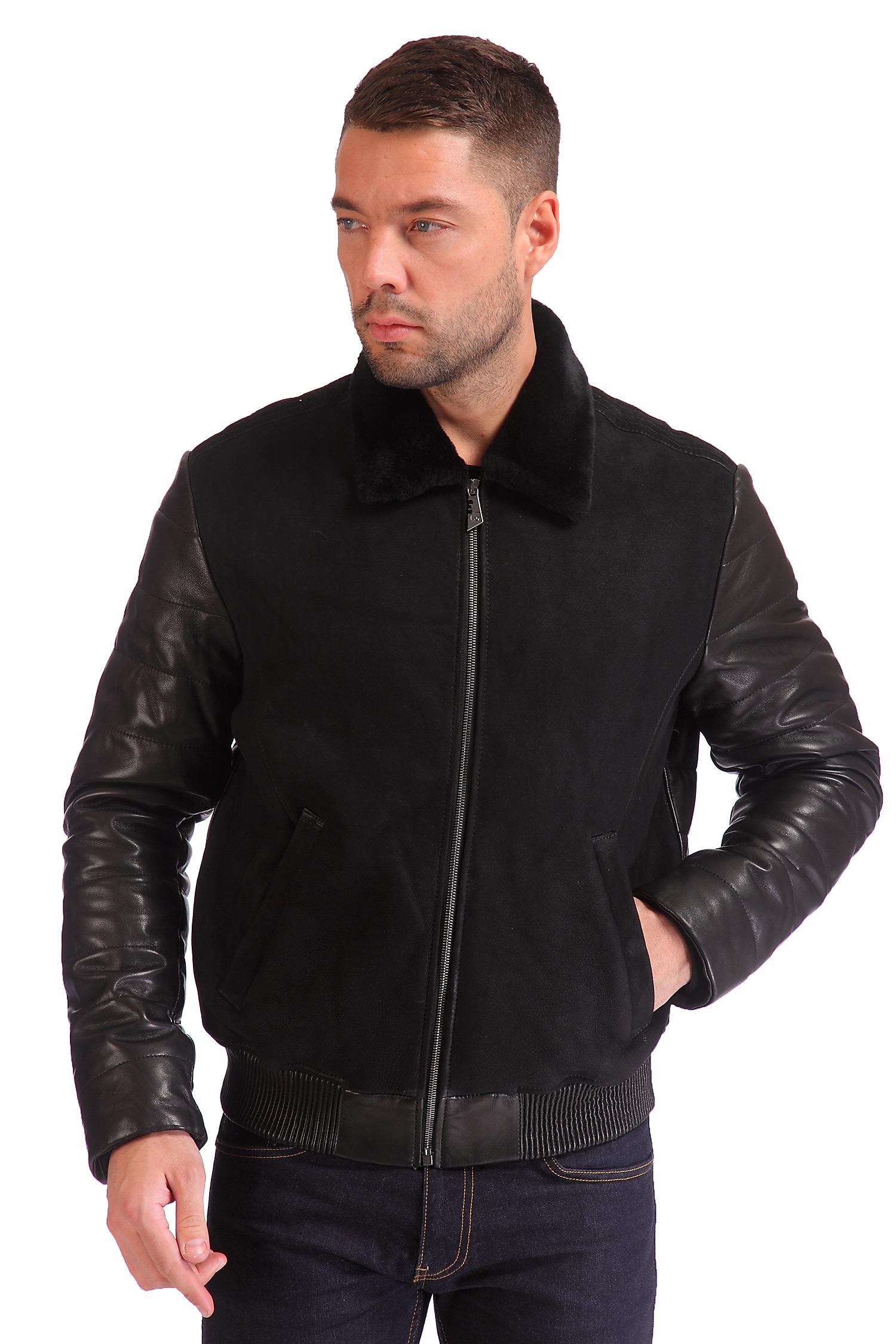 Мужская кожаная куртка из натуральной кожи с воротником, отделка овчина<br><br>Воротник: отложной<br>Длина см: Короткая (51-74 )<br>Материал: Замша<br>Цвет: черный<br>Вид застежки: центральная<br>Застежка: на молнии<br>Пол: Мужской<br>Размер RU: 48