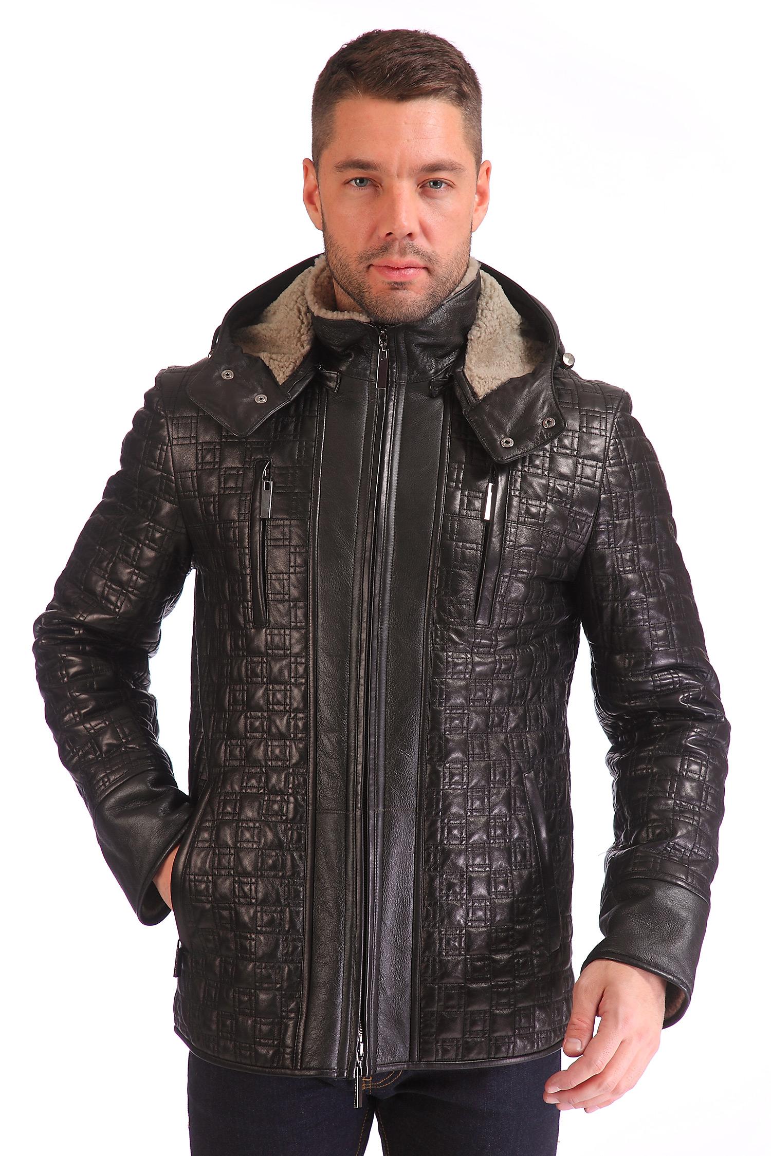 Мужская кожаная куртка из натуральной кожи с капюшоном, отделка овчина