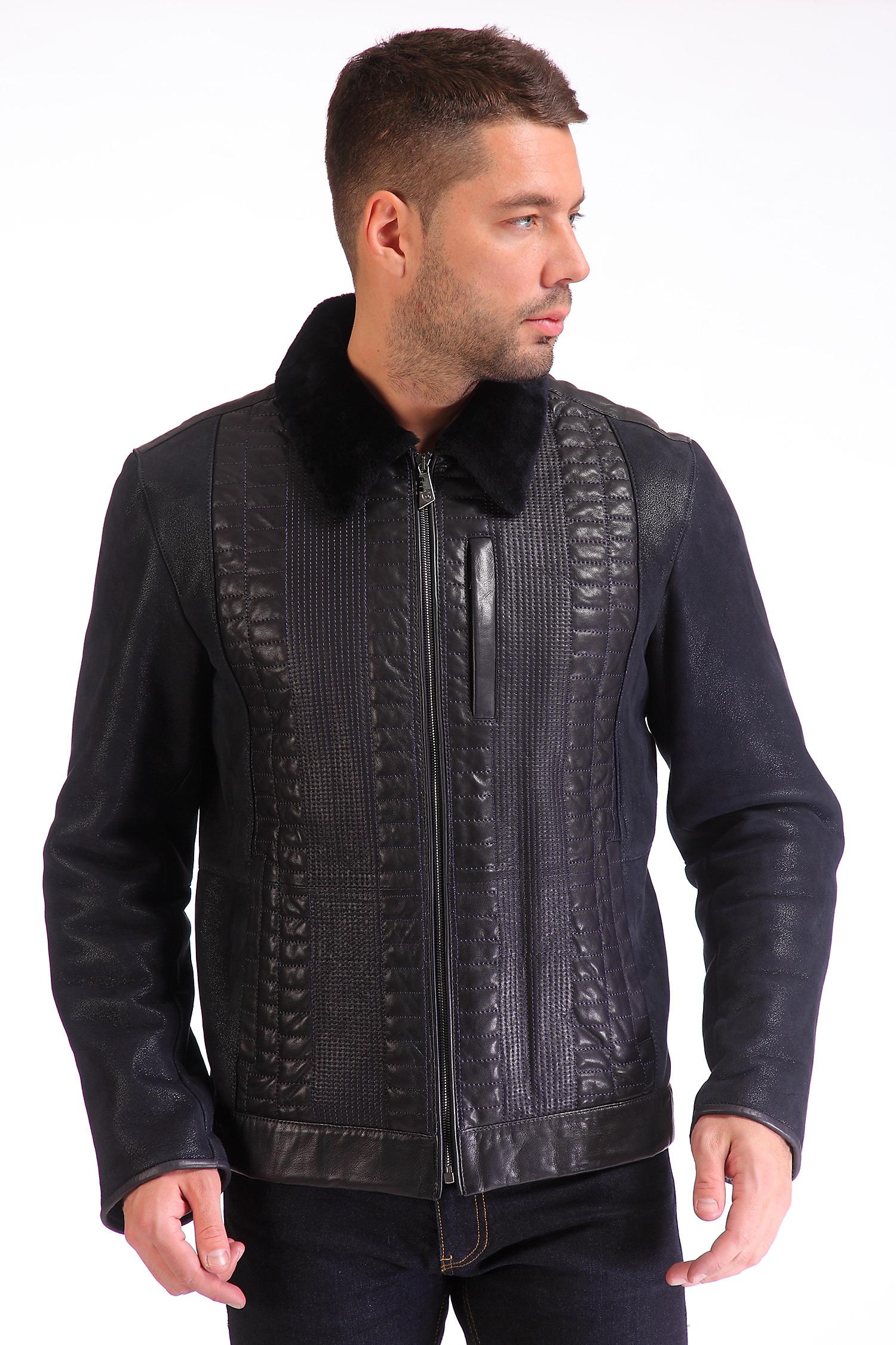 Мужская кожаная куртка из натуральной кожи, отделка овчина