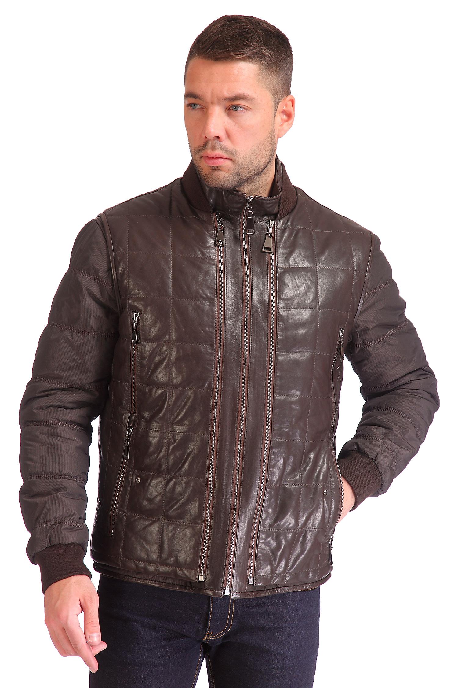 Мужская кожаная куртка из натуральной кожи утепленная<br><br>Воротник: стойка<br>Длина см: Короткая (51-74 )<br>Материал: Кожа овчина<br>Цвет: коричневый<br>Вид застежки: центральная<br>Застежка: на молнии<br>Пол: Мужской<br>Размер RU: 54