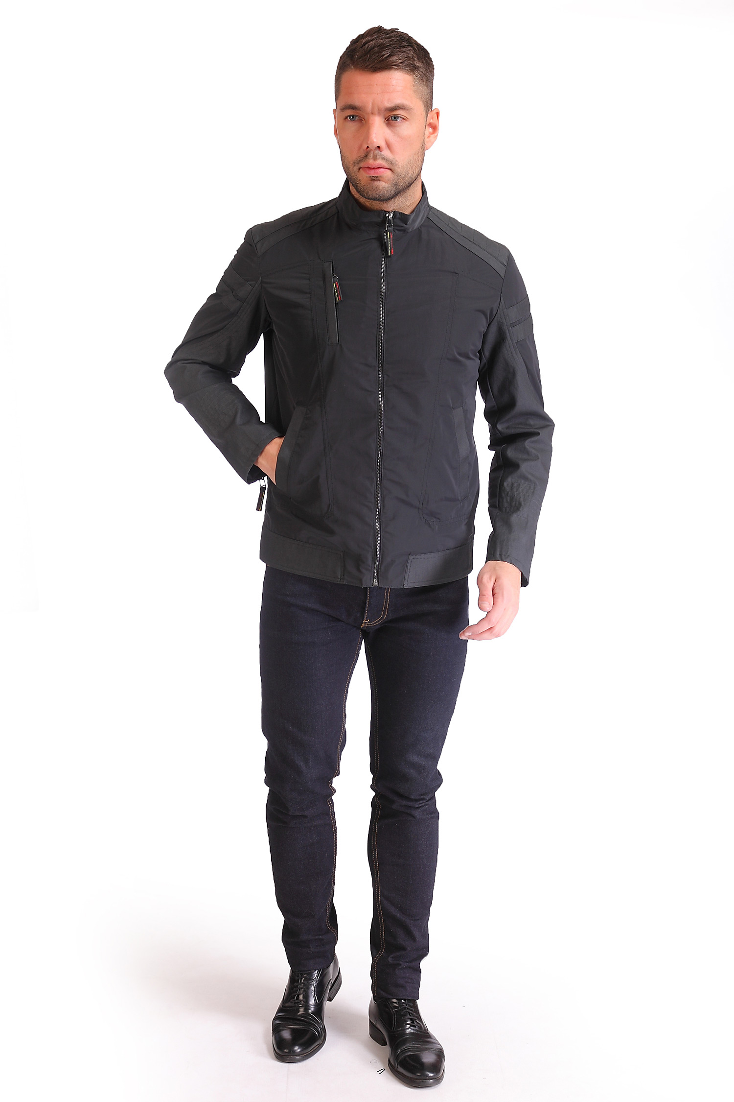 Фото 3 - Мужская куртка из текстиля с воротником от МОСМЕХА черного цвета
