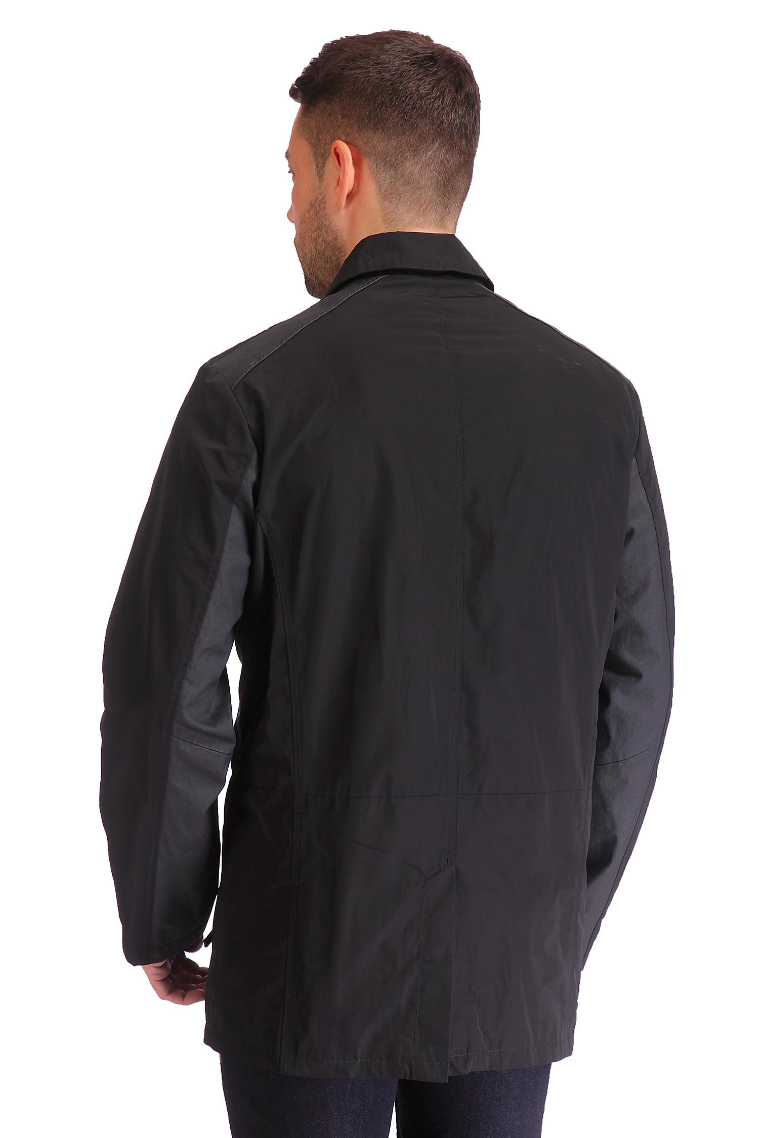 Фото 4 - Мужская куртка из текстиля с воротником, отделка искусственная кожа от МОСМЕХА черного цвета