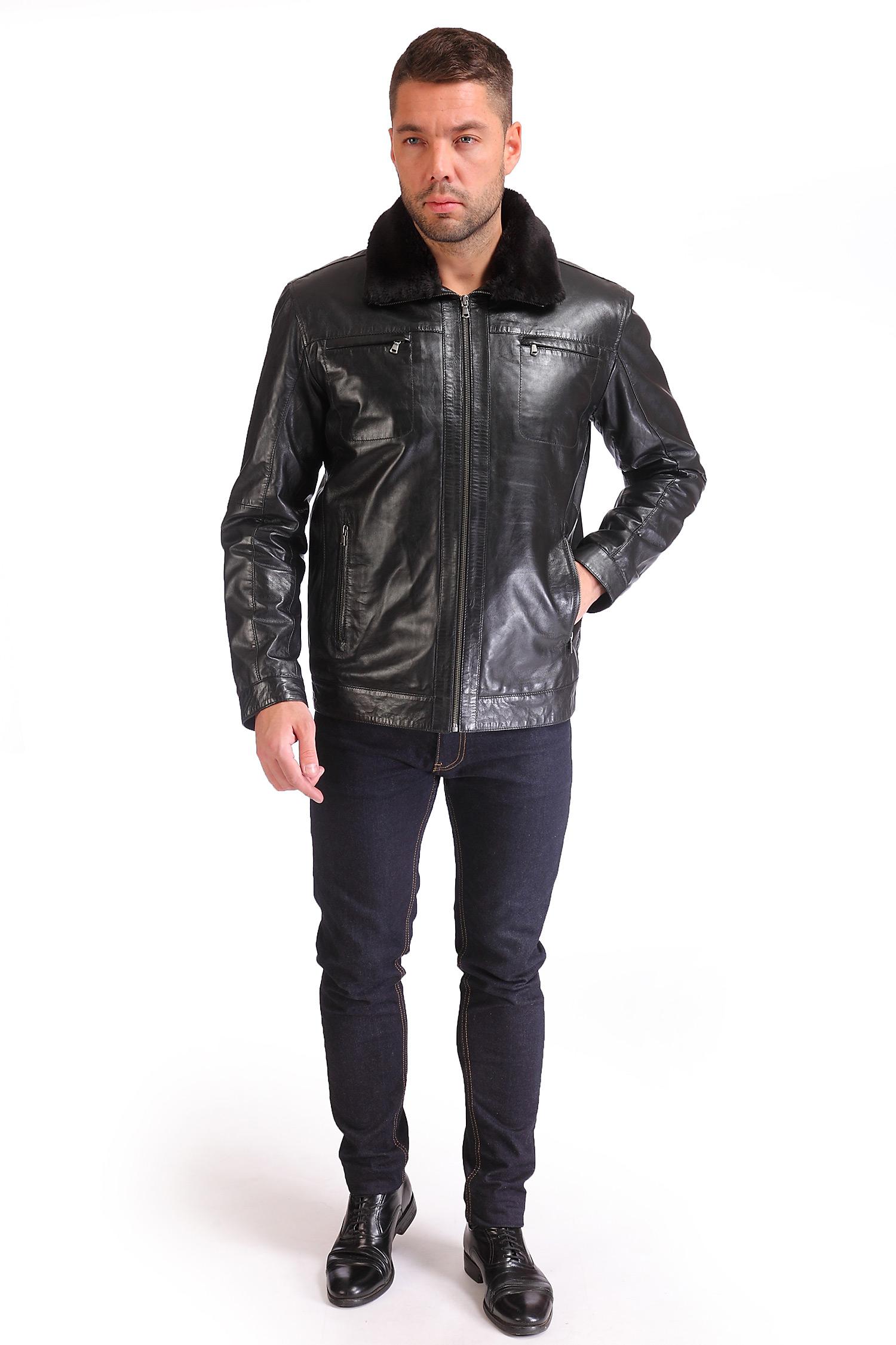 Мужская кожаная куртка из натуральной кожи утепленная, отделка искусственный мех от Московская Меховая Компания