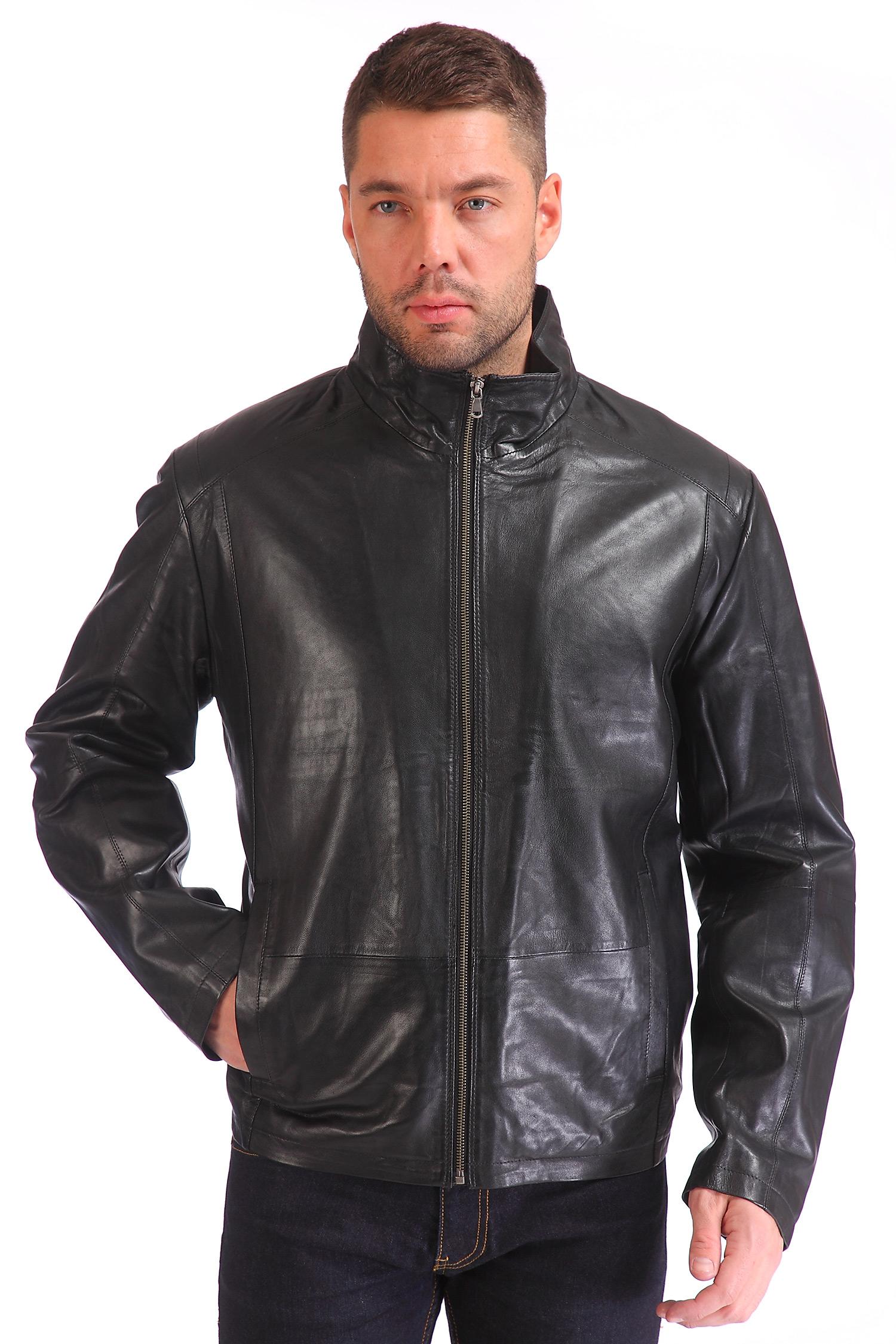 Мужская кожаная куртка из натуральной кожи<br><br>Длина см: Короткая (51-74 )<br>Материал: Кожа овчина<br>Цвет: черный<br>Застежка: на молнии<br>Пол: Мужской<br>Размер RU: 56-58