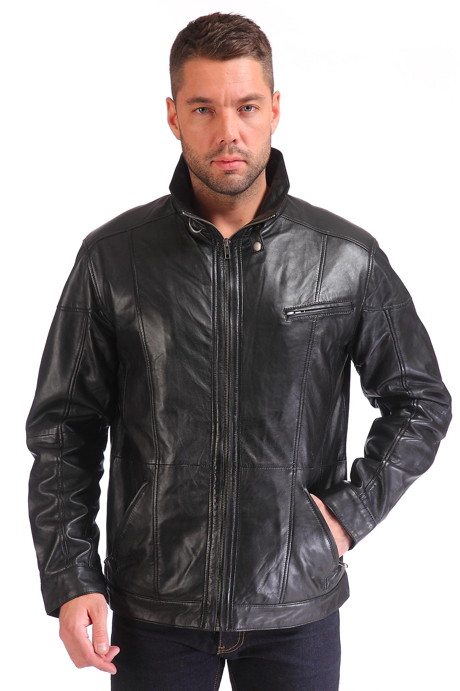 Мужская кожаная куртка из натуральной кожи с воротником, отделка искусственный мех<br><br>Воротник: без воротника<br>Длина см: Короткая (51-74 )<br>Материал: Кожа овчина<br>Цвет: черный<br>Пол: Мужской<br>Размер RU: 52-54
