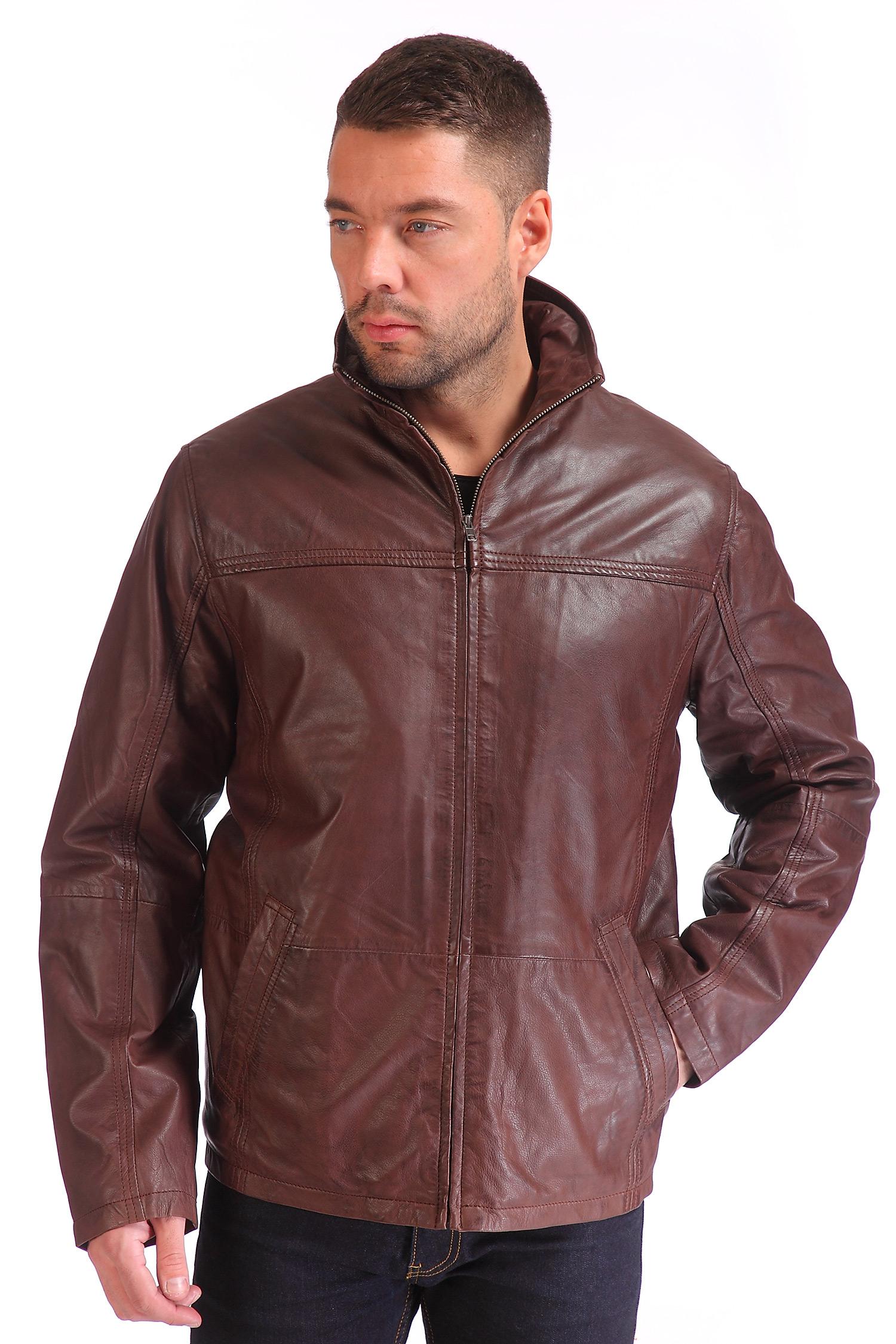 Мужская кожаная куртка из натуральной кожи с воротником, без отделки<br><br>Воротник: Стойка<br>Материал: Натуральная кожа<br>Длина см: 70<br>Цвет: Коричневый<br>Пол: Мужской<br>Размер RU: 52-54