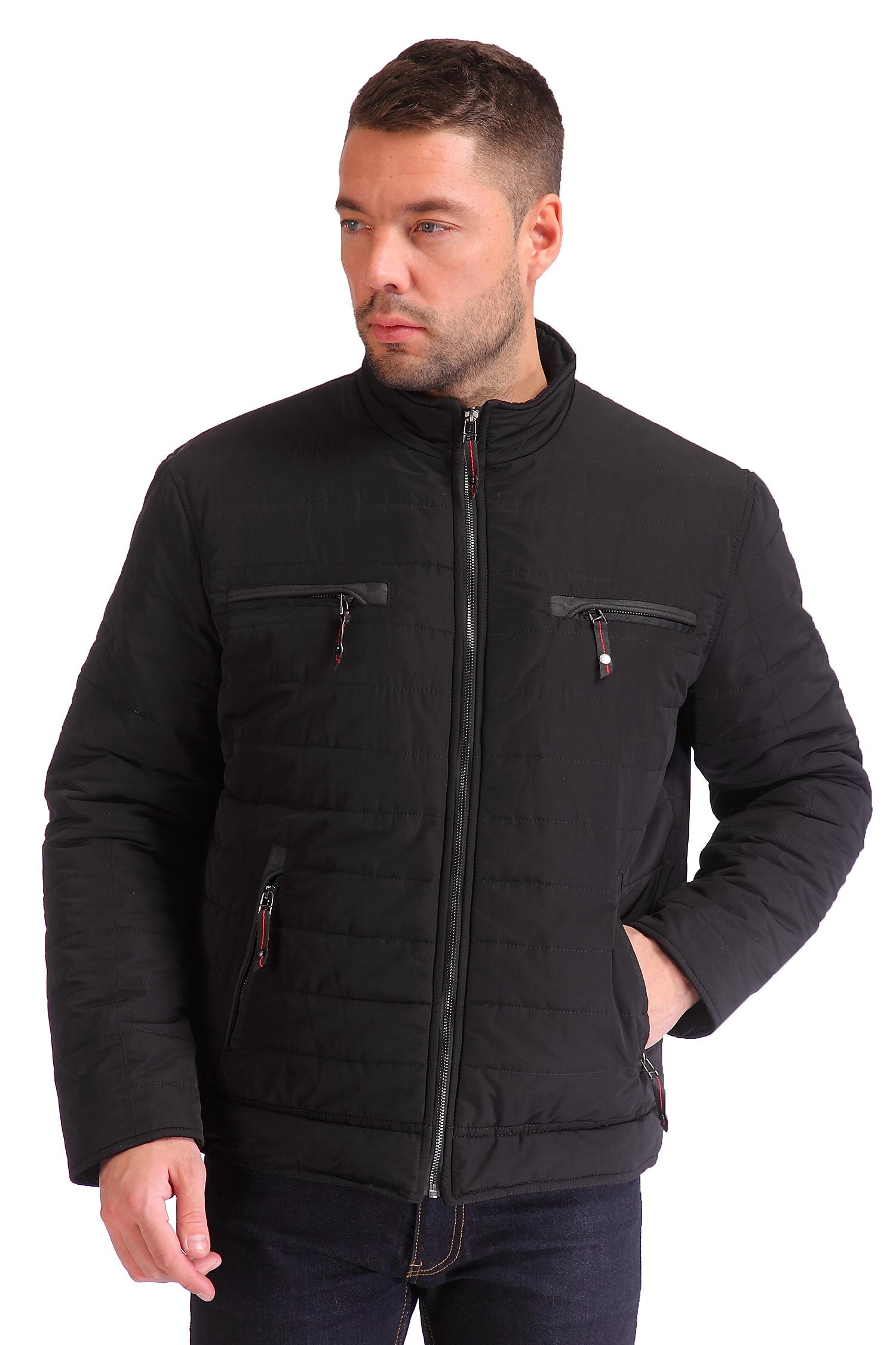 Мужская куртка из текстиля с воротником, без отделки<br><br>Воротник: стойка<br>Длина см: Короткая (51-74 )<br>Материал: Текстиль<br>Цвет: черный<br>Застежка: на молнии<br>Пол: Мужской<br>Размер RU: 56
