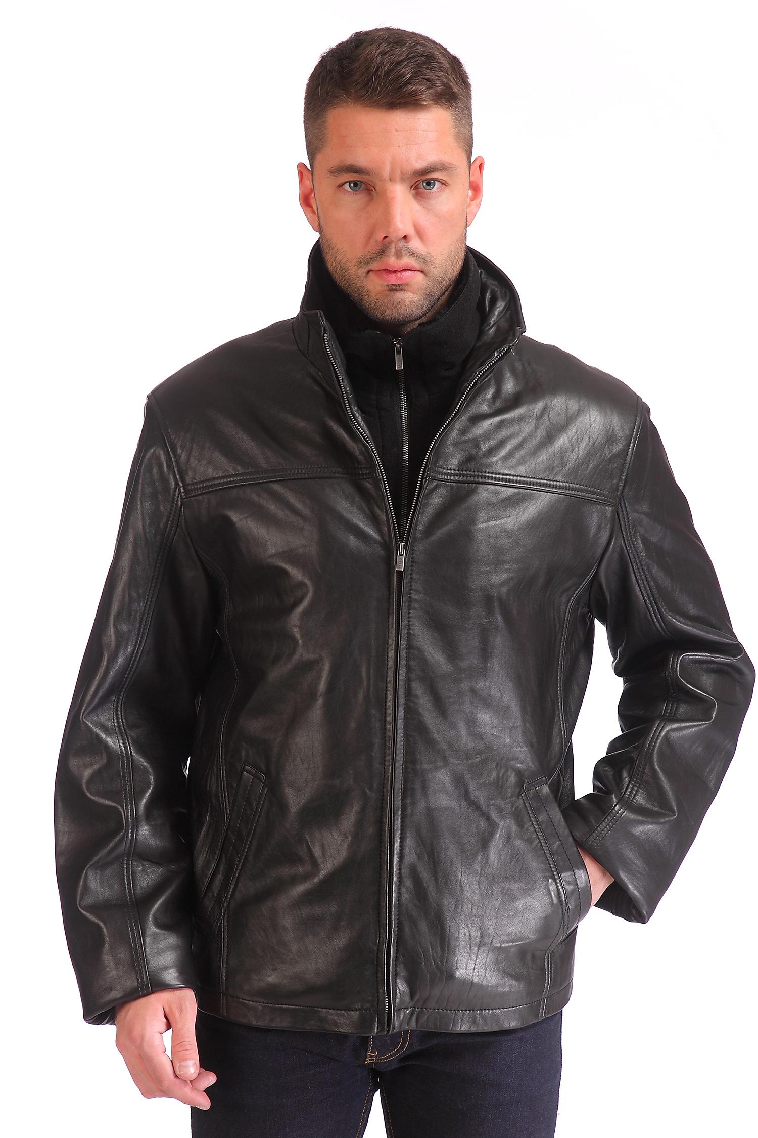 Мужская кожаная куртка из натуральной кожи с воротником, без отделки<br><br>Материал: Натуральная кожа<br>Длина см: 70<br>Воротник: Стойка<br>Цвет: Черный<br>Пол: Мужской<br>Размер RU: 52-54