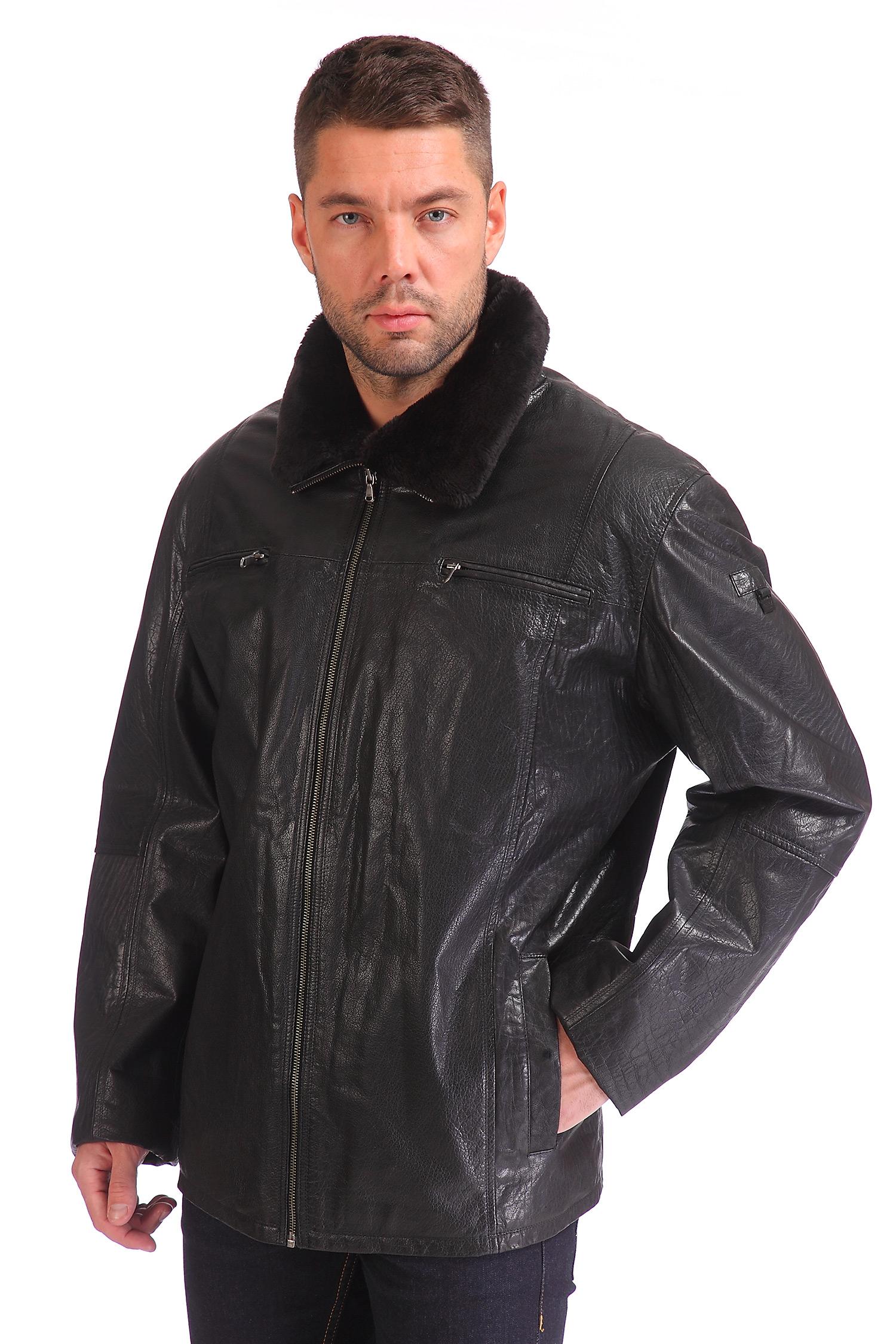 Мужская кожаная куртка из натуральной кожи утепленная, отделка искусственный мех<br><br>Цвет: черный<br>Материал: Кожа овчина<br>Воротник: без воротника<br>Длина см: Средняя (75-89 )<br>Пол: Мужской<br>Размер RU: 56-58