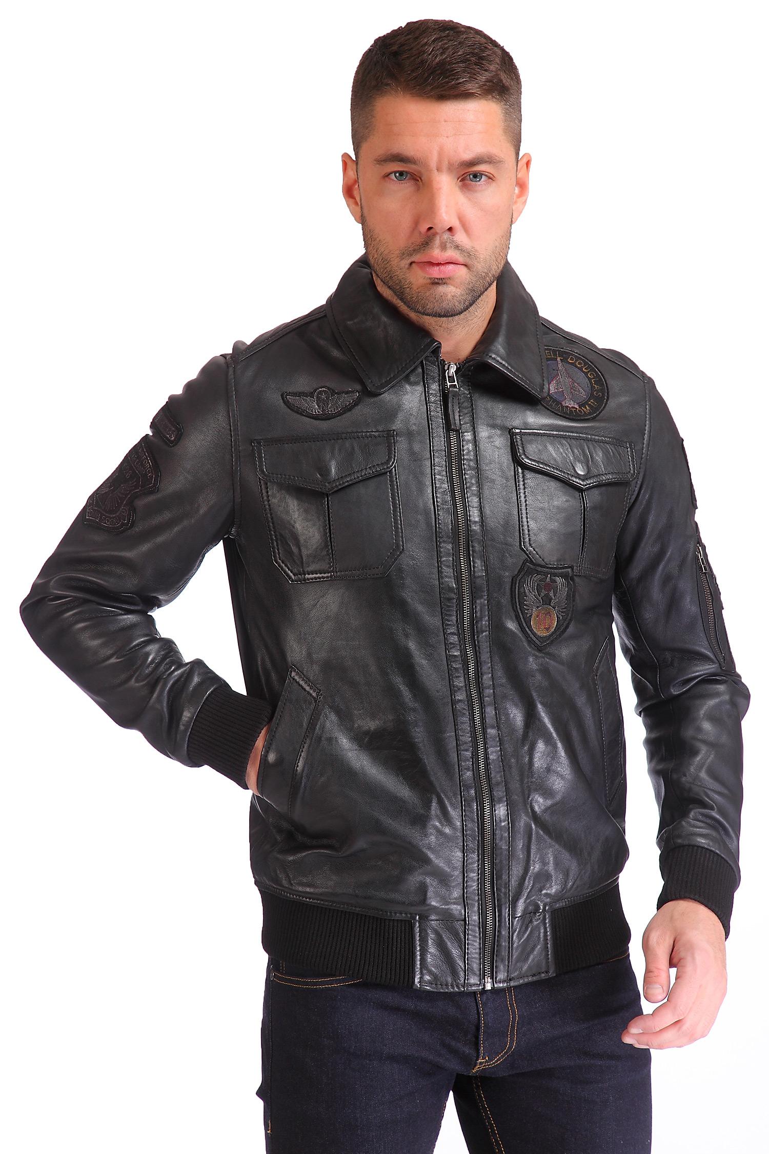 Мужская кожаная куртка из натуральной кожи<br><br>Воротник: отложной<br>Длина см: Короткая (51-74 )<br>Материал: Кожа овчина<br>Цвет: черный<br>Вид застежки: центральная<br>Застежка: на молнии<br>Пол: Мужской<br>Размер RU: 54