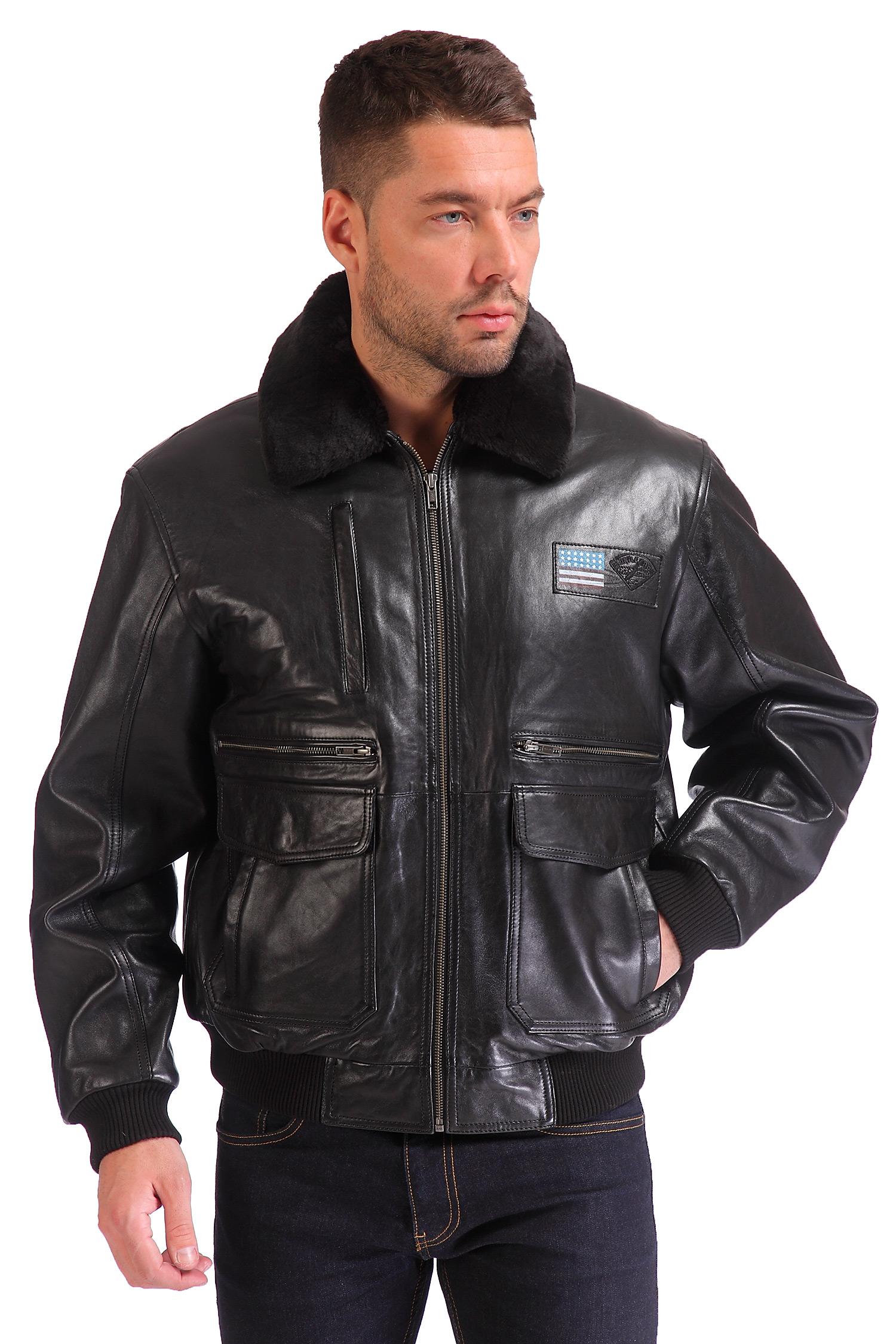 Мужская кожаная куртка из натуральной кожи утепленная, отделка искусственный мех