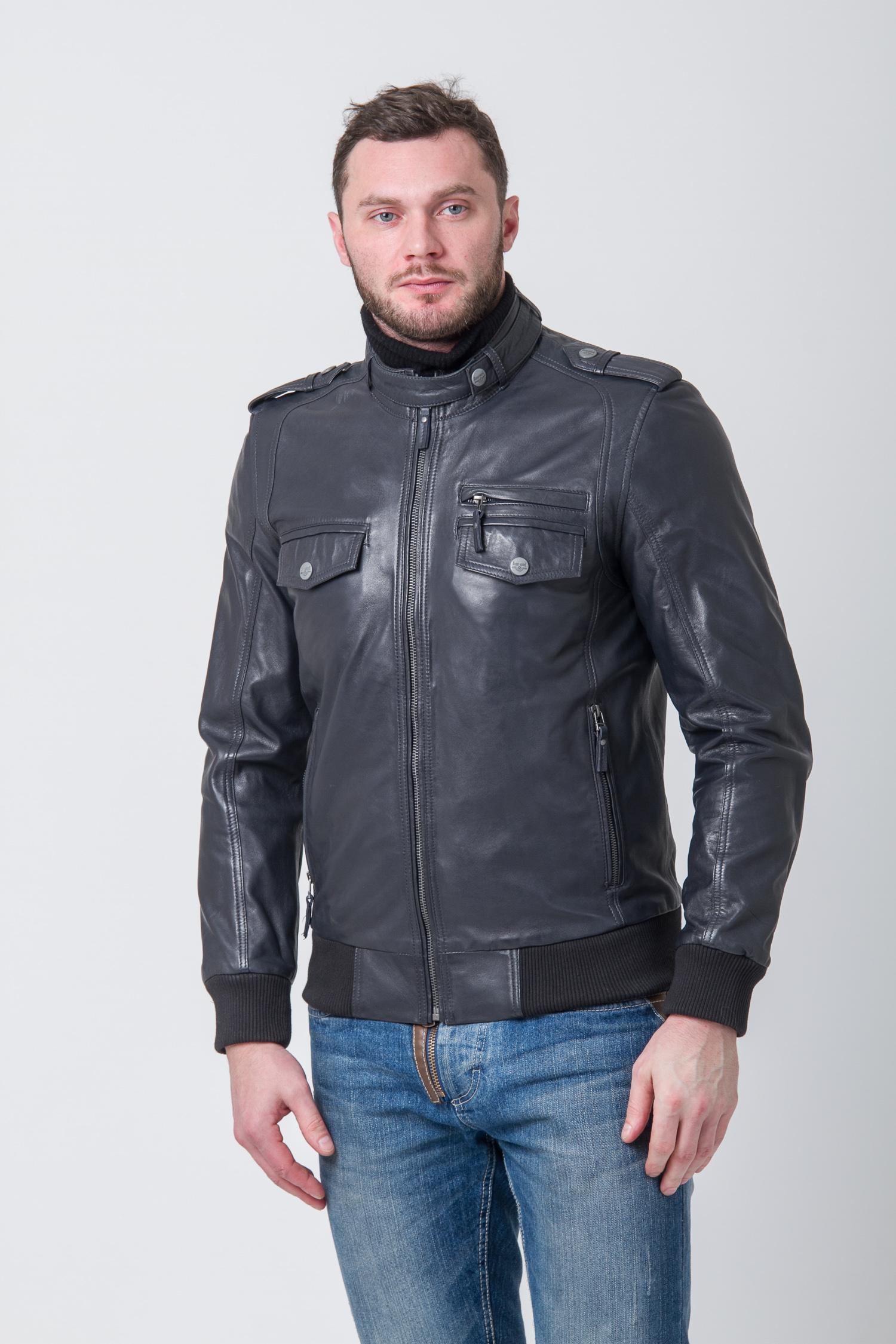 Мужская кожаная куртка с воротником, без отделки<br><br>Воротник: стойка<br>Длина см: Короткая (51-74 )<br>Материал: Кожа овчина<br>Цвет: синий<br>Застежка: на молнии<br>Пол: Мужской<br>Размер RU: 58