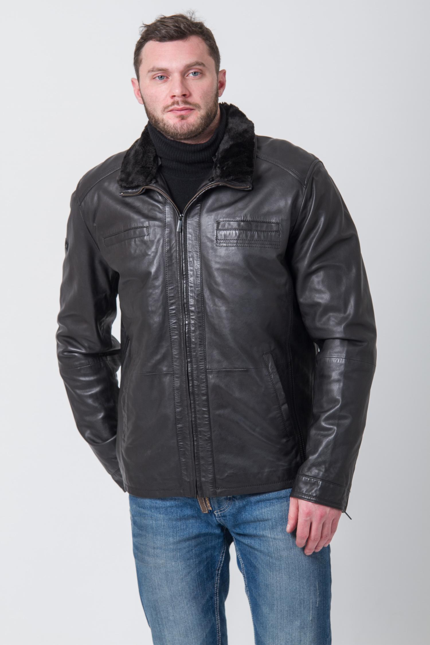 Мужская кожаная куртка с воротником, отделка искусственнный мех. Производитель: Московская Меховая Компания, артикул: 8370