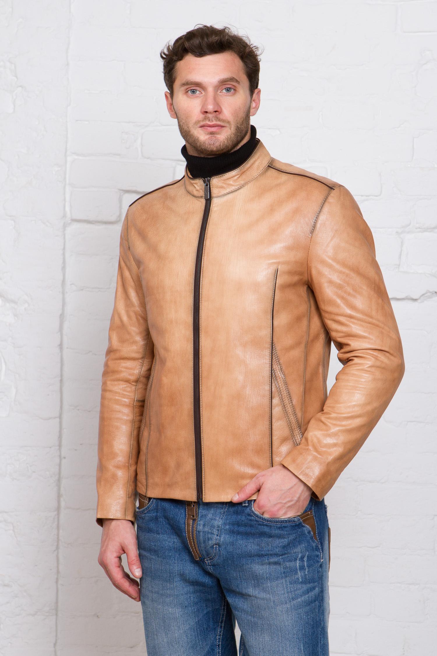 Мужская кожаная куртка из натуральной кожи<br><br>Воротник: стойка<br>Длина см: Короткая (51-74 )<br>Материал: Кожа овчина<br>Цвет: бежевый<br>Вид застежки: центральная<br>Застежка: на молнии<br>Пол: Мужской<br>Размер RU: 52