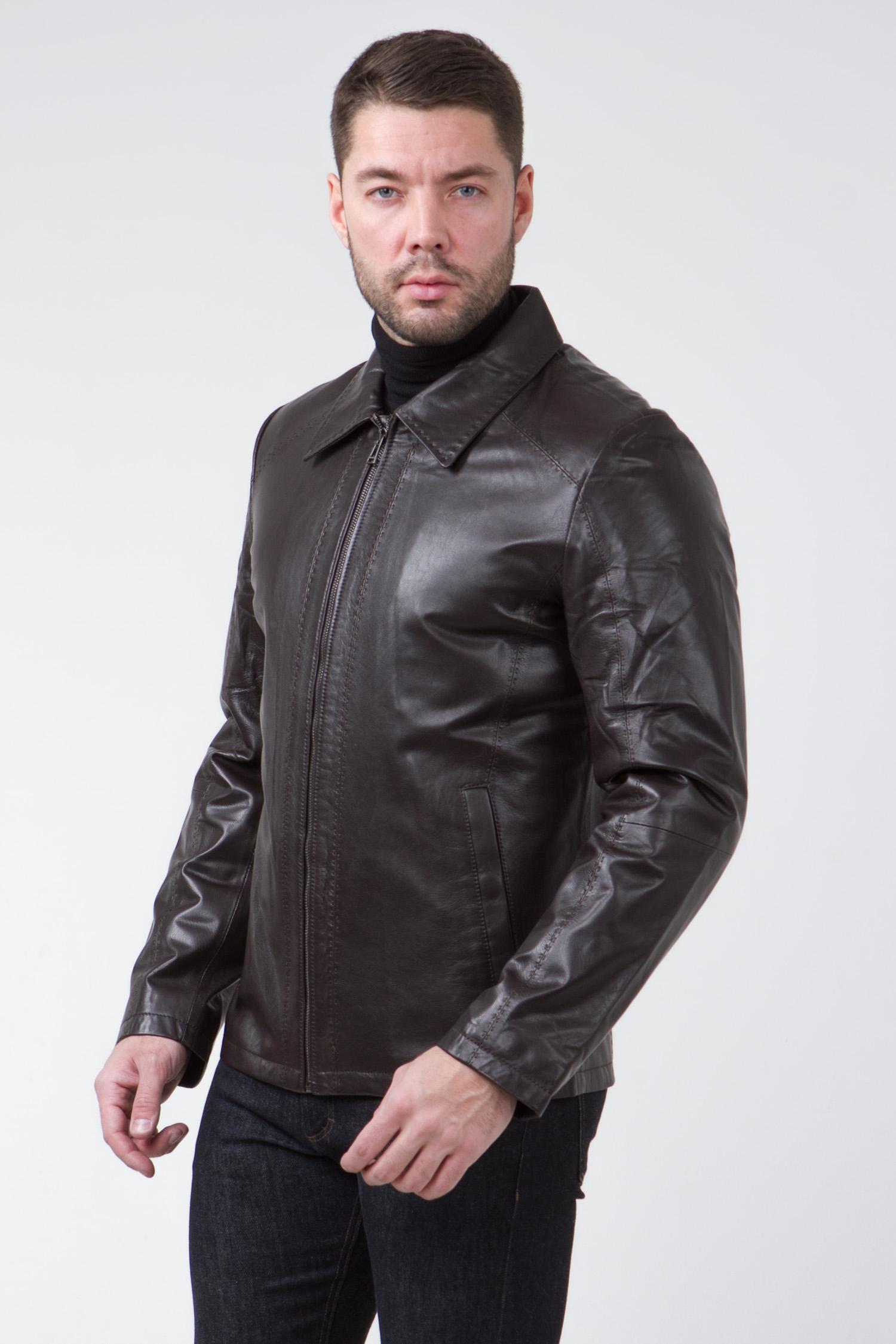 Мужская кожаная куртка из натуральной кожи с воротником, без отделки<br><br>Воротник: отложной<br>Длина см: Короткая (51-74 )<br>Материал: Кожа овчина<br>Цвет: коричневый<br>Вид застежки: центральная<br>Застежка: на молнии<br>Пол: Мужской<br>Размер RU: 56