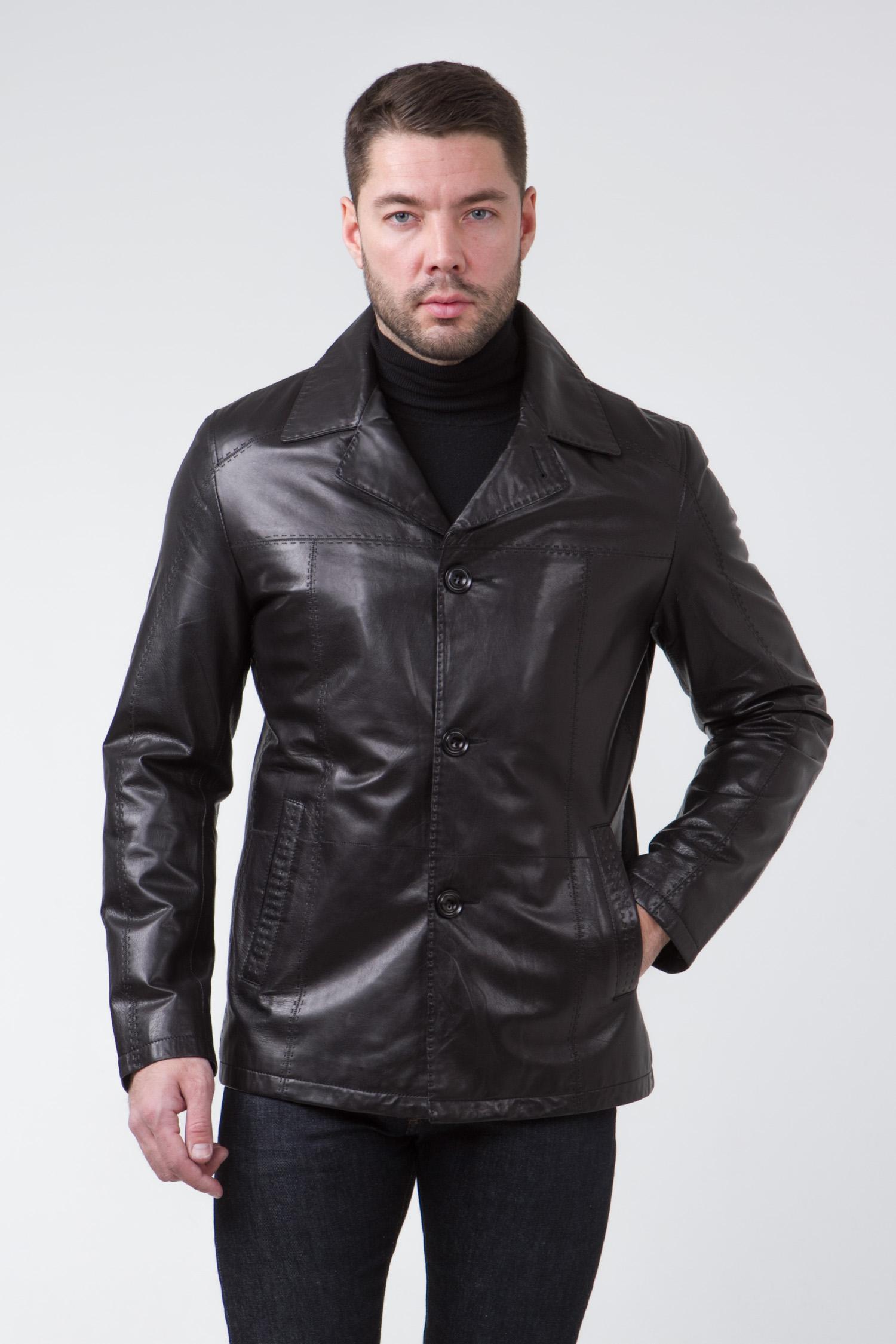 Мужская кожаная куртка из натуральной кожи с воротником, без отделки<br><br>Воротник: английский<br>Длина см: Средняя (75-89 )<br>Материал: Кожа овчина<br>Цвет: черный<br>Вид застежки: центральная<br>Застежка: на пуговицы<br>Пол: Мужской<br>Размер RU: 52
