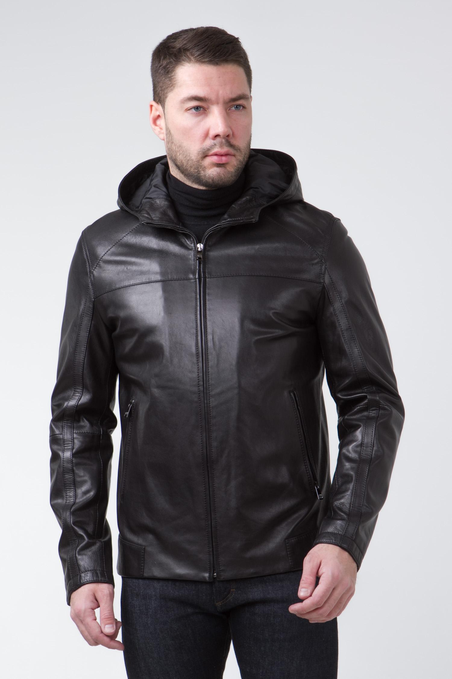 Мужская кожаная куртка из натуральной кожи с капюшоном, без отделки<br><br>Воротник: капюшон<br>Длина см: Короткая (51-74 )<br>Материал: Кожа овчина<br>Цвет: черный<br>Вид застежки: центральная<br>Застежка: на молнии<br>Пол: Мужской<br>Размер RU: 44