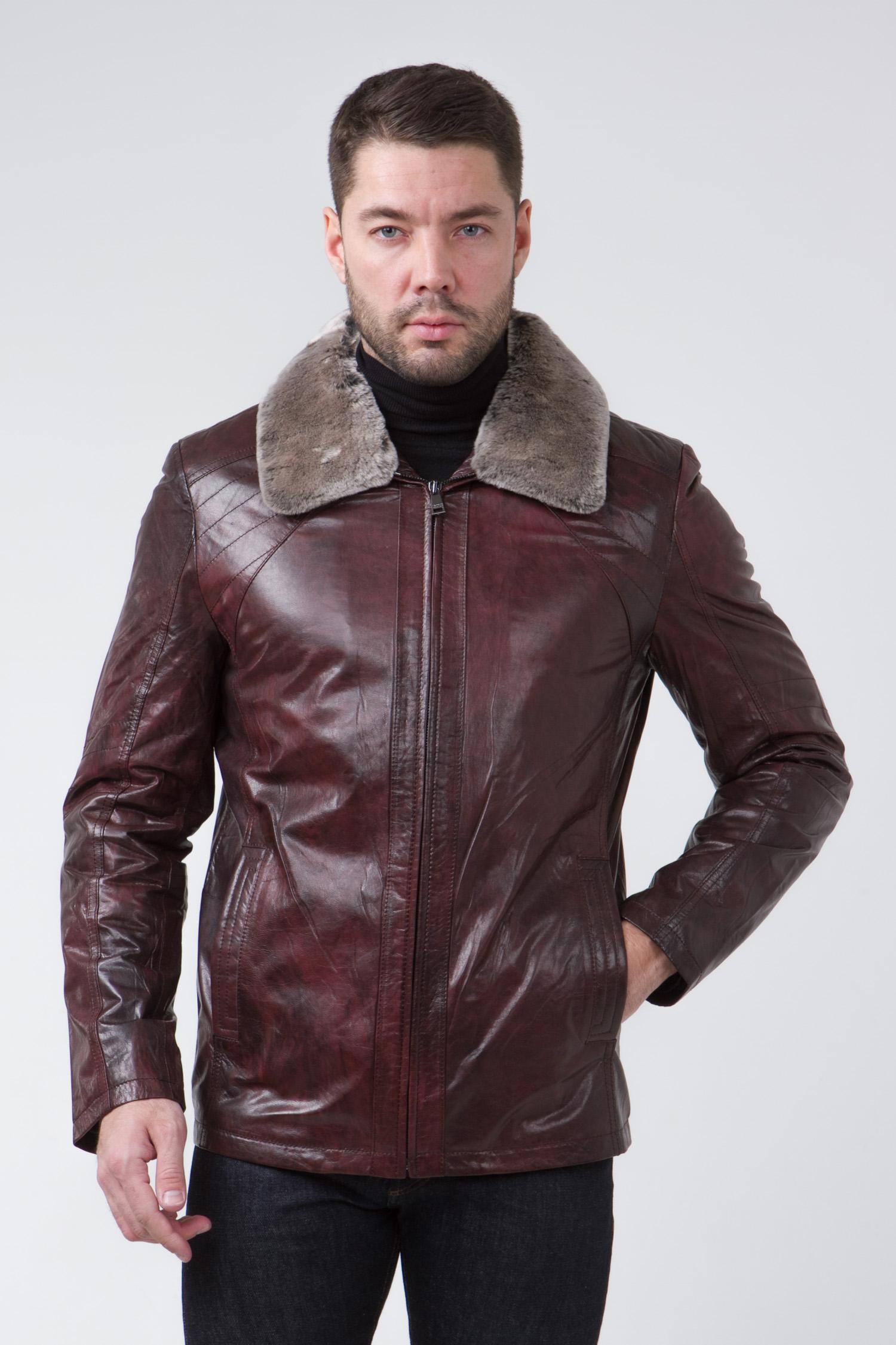 Мужская кожаная куртка из натуральной кожи с воротником, отделка овчина