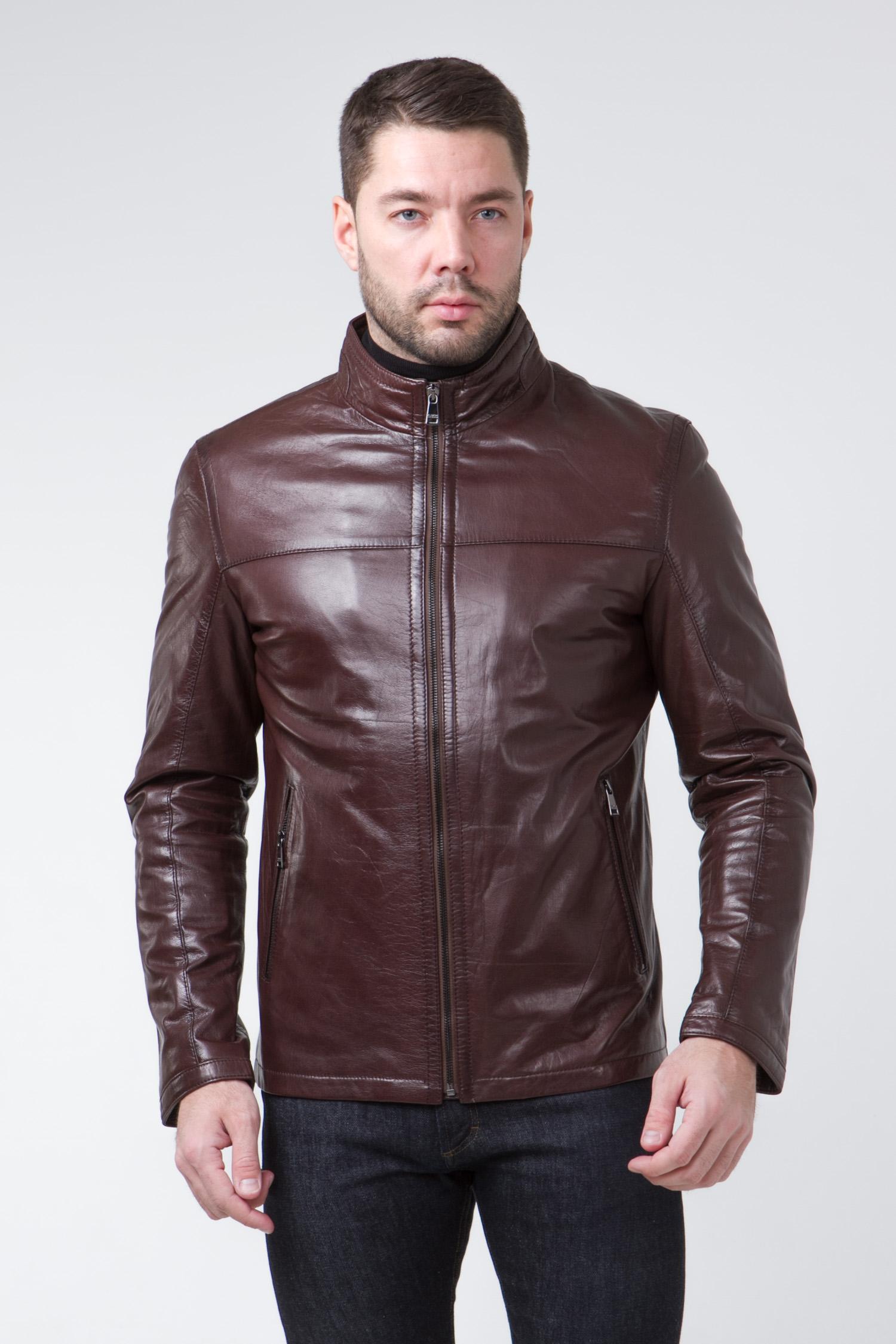 Мужская кожаная куртка из натуральной кожи с воротником, без отделки<br><br>Воротник: стойка<br>Длина см: Короткая (51-74 )<br>Материал: Кожа овчина<br>Цвет: коричневый<br>Вид застежки: центральная<br>Застежка: на молнии<br>Пол: Мужской<br>Размер RU: 50