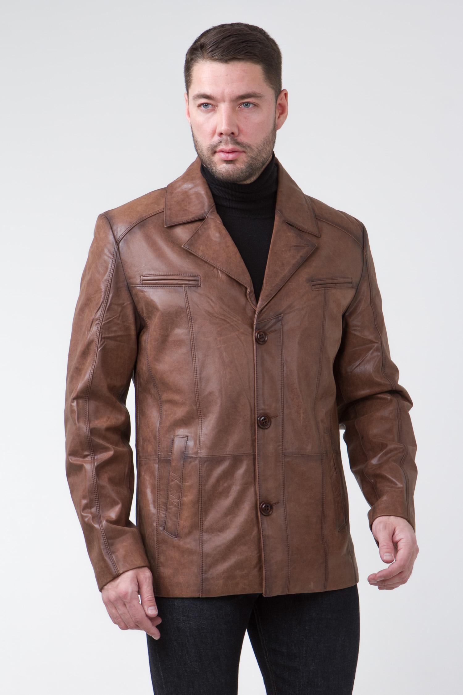 Мужская кожаная куртка из натуральной кожи с воротником, без отделки<br><br>Воротник: английский<br>Длина см: Короткая (51-74 )<br>Материал: Кожа овчина<br>Цвет: коричневый<br>Вид застежки: центральная<br>Застежка: на пуговицы<br>Пол: Мужской<br>Размер RU: 60