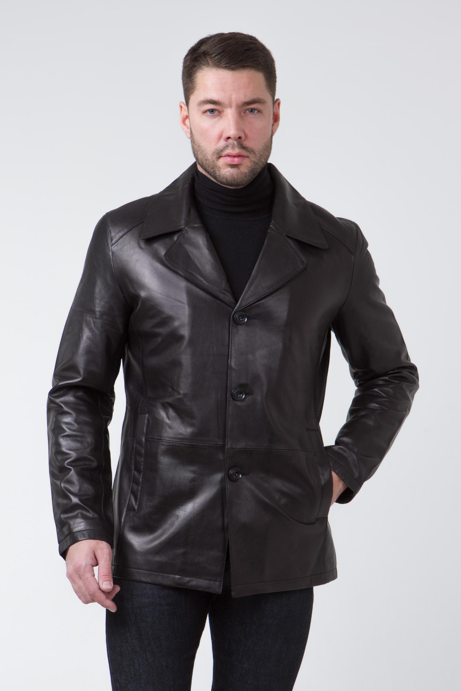 Мужская кожаная куртка из натуральной кожи с воротником, без отделки<br><br>Воротник: английский<br>Длина см: Короткая (51-74 )<br>Материал: Кожа овчина<br>Цвет: черный<br>Вид застежки: центральная<br>Застежка: на пуговицы<br>Пол: Мужской<br>Размер RU: 56
