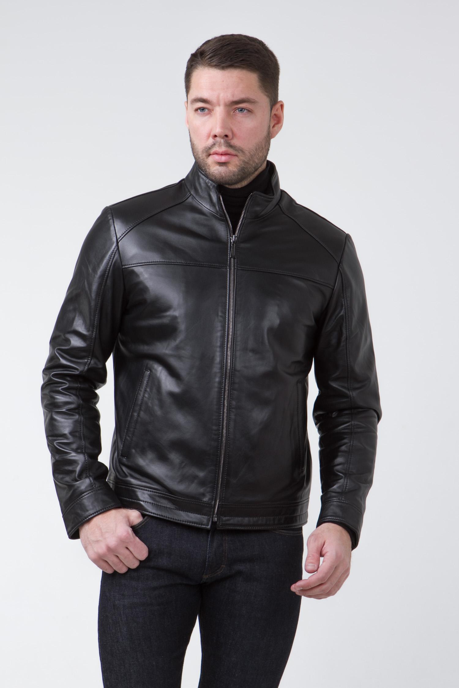 Мужская кожаная куртка из натуральной кожи с воротником, без отделки<br><br>Воротник: стойка<br>Длина см: Короткая (51-74 )<br>Материал: Кожа овчина<br>Цвет: черный<br>Вид застежки: центральная<br>Застежка: на молнии<br>Пол: Мужской<br>Размер RU: 50
