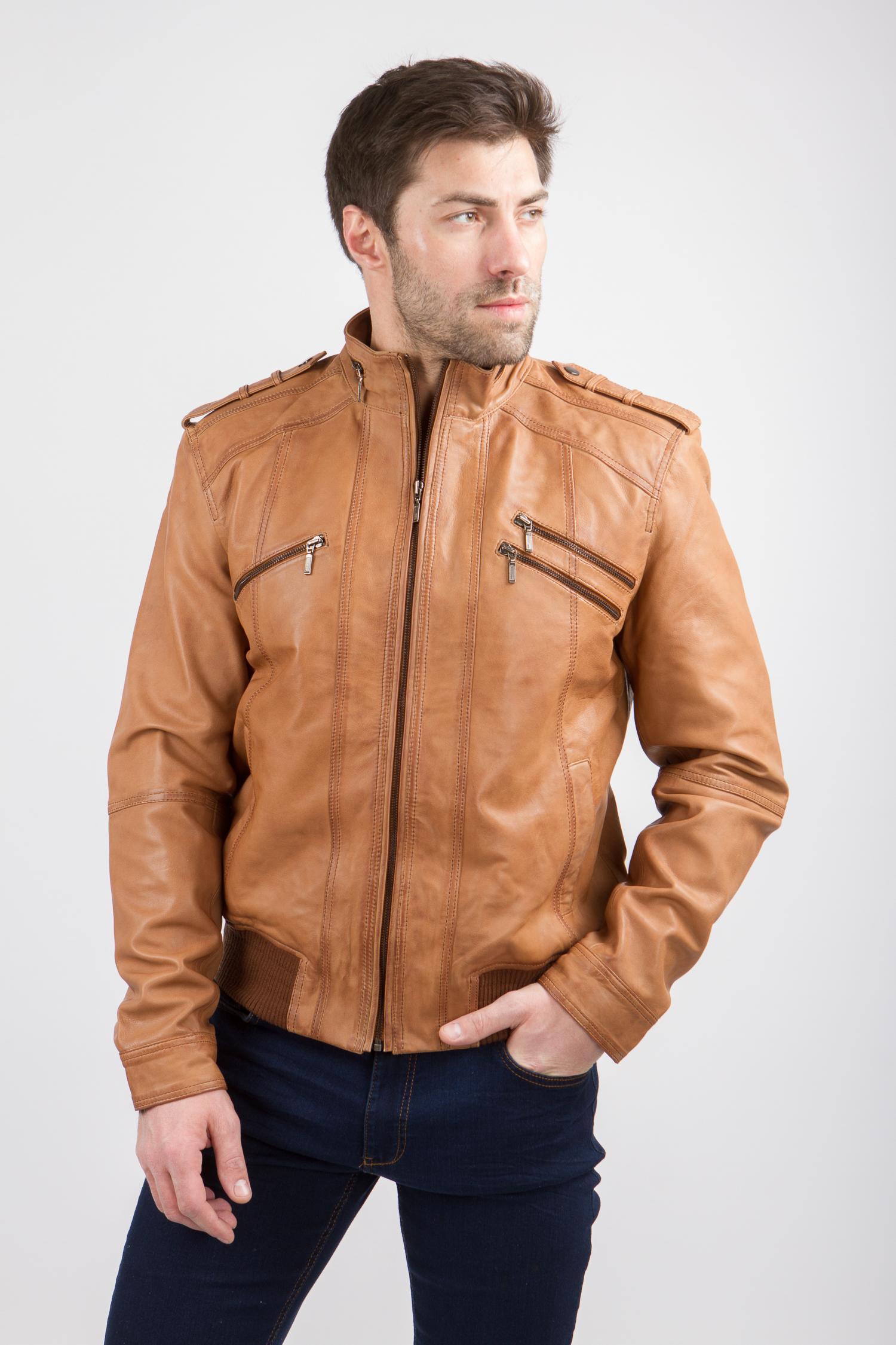 Мужская кожаная куртка из натуральной кожи с воротником, без отделки<br><br>Воротник: стойка<br>Длина см: Короткая (51-74 )<br>Материал: Кожа овчина<br>Цвет: бежевый<br>Вид застежки: центральная<br>Застежка: на молнии<br>Пол: Мужской<br>Размер RU: 62