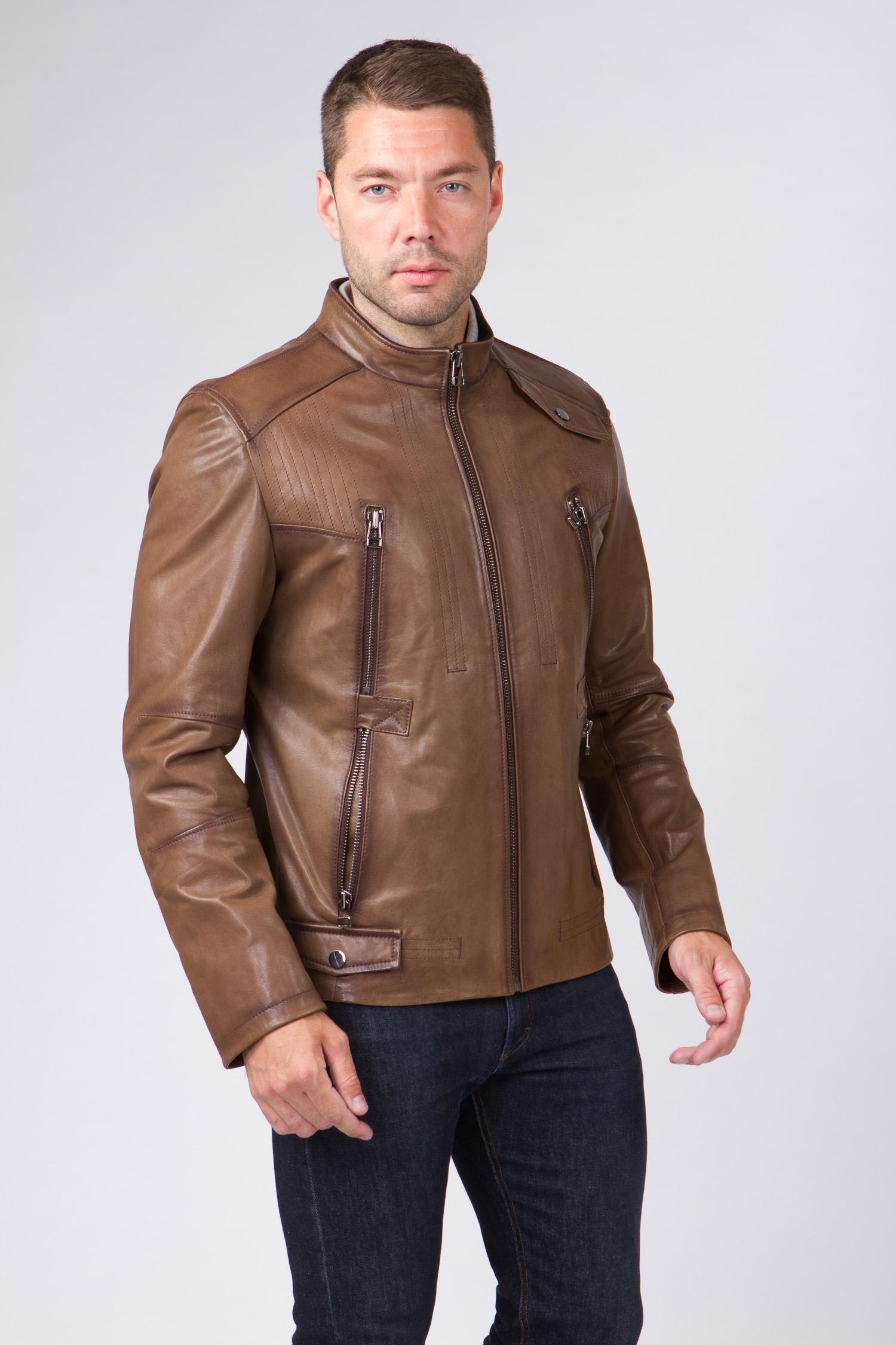 Мужская кожаная куртка из натуральной кожи с воротником, без отделки Мужская кожаная куртка из натуральной кожи с воротником, без отделки