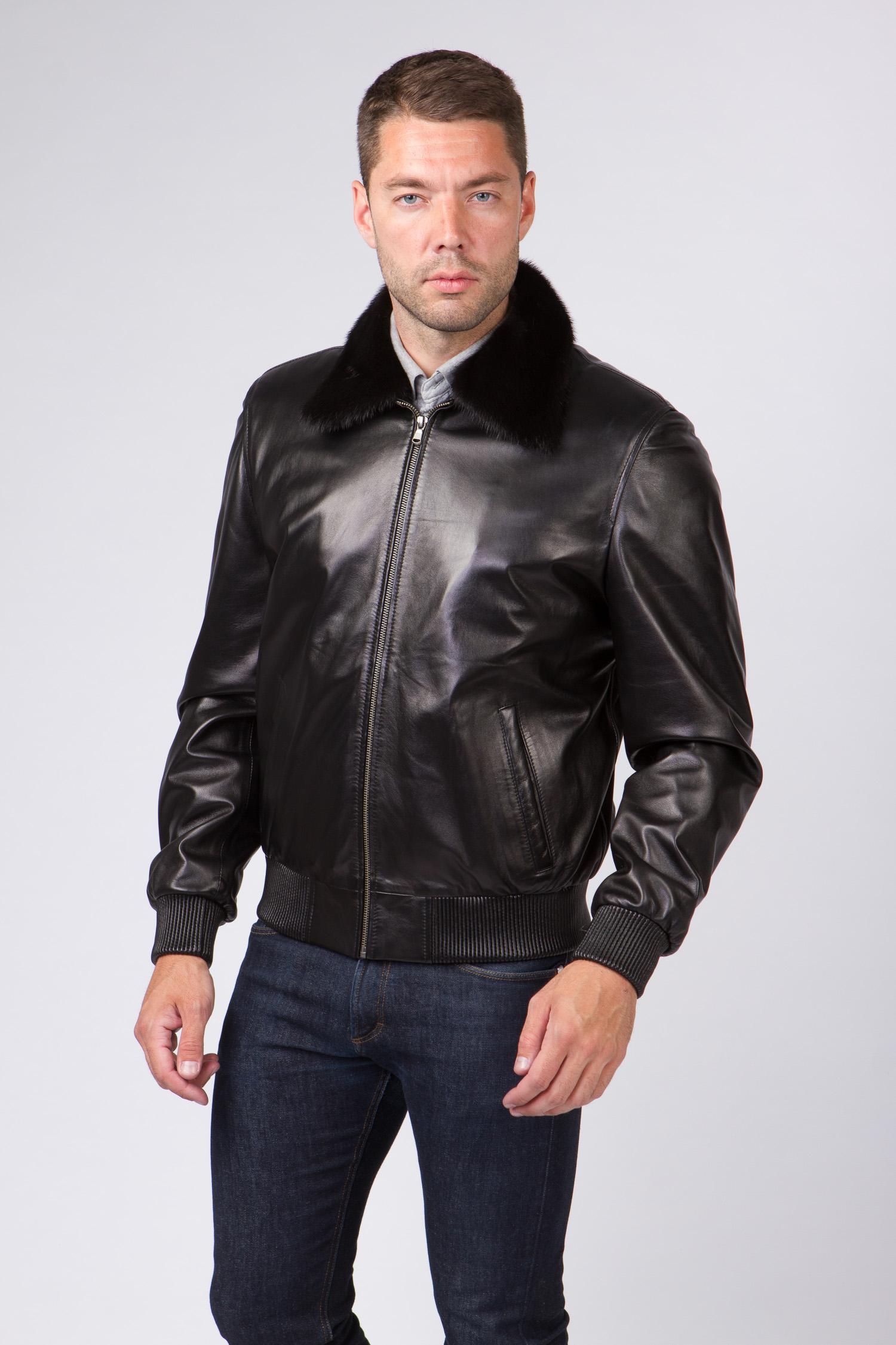 Мужская кожаная куртка из натуральной кожи с воротником, отделка норка