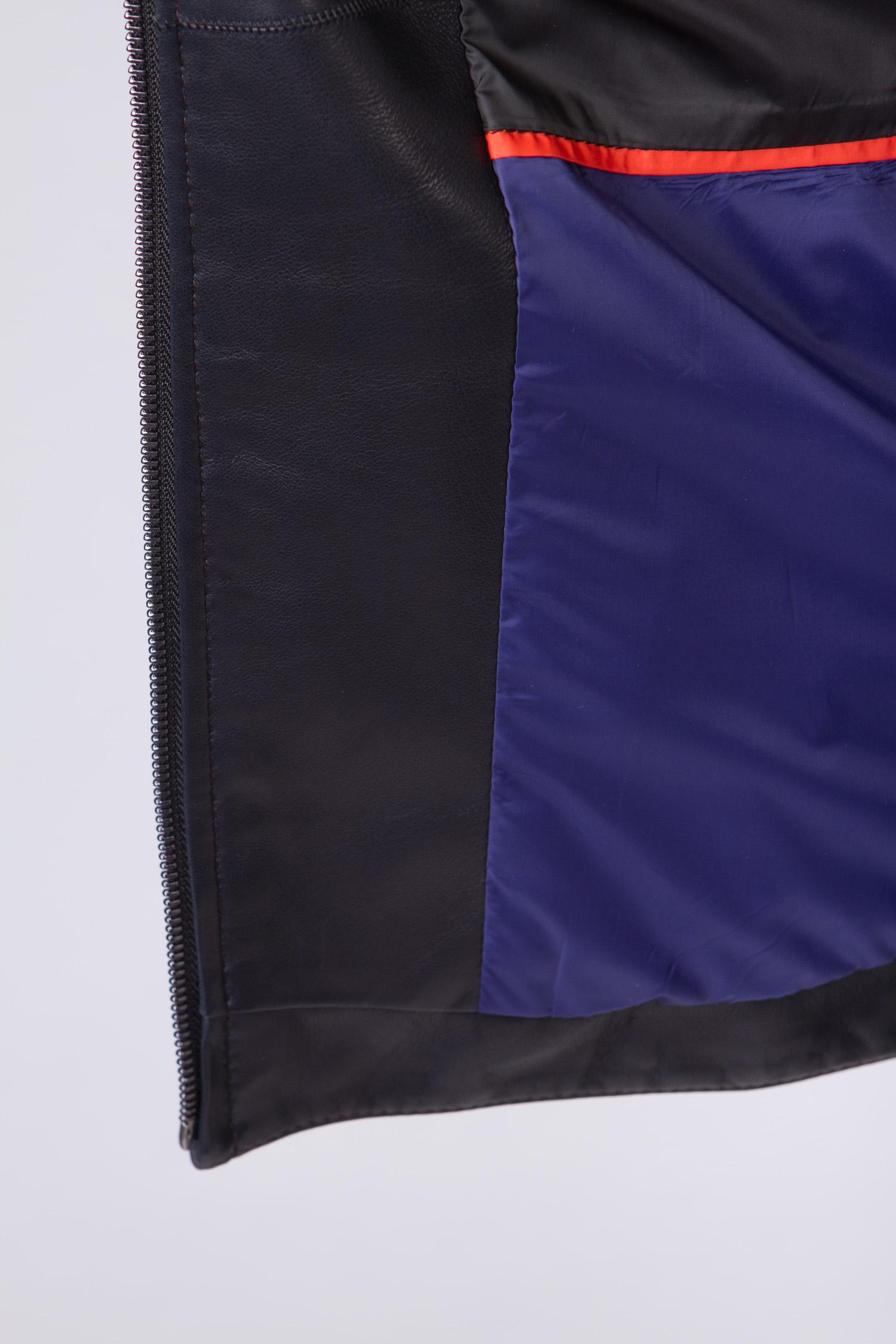 Мужская кожаная куртка из натуральной кожи с капюшоном, без отделки от Московская Меховая Компания