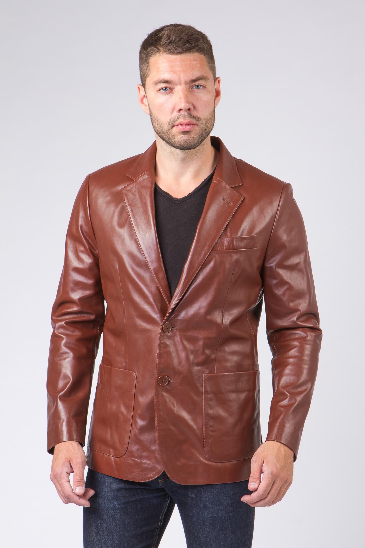 Мужская кожаная куртка из натуральной кожи с воротником, без отделки<br><br>Воротник: английский<br>Длина см: Короткая (51-74 )<br>Материал: Кожа овчина<br>Цвет: коричневый<br>Вид застежки: центральная<br>Застежка: на пуговицы<br>Пол: Мужской<br>Размер RU: 46
