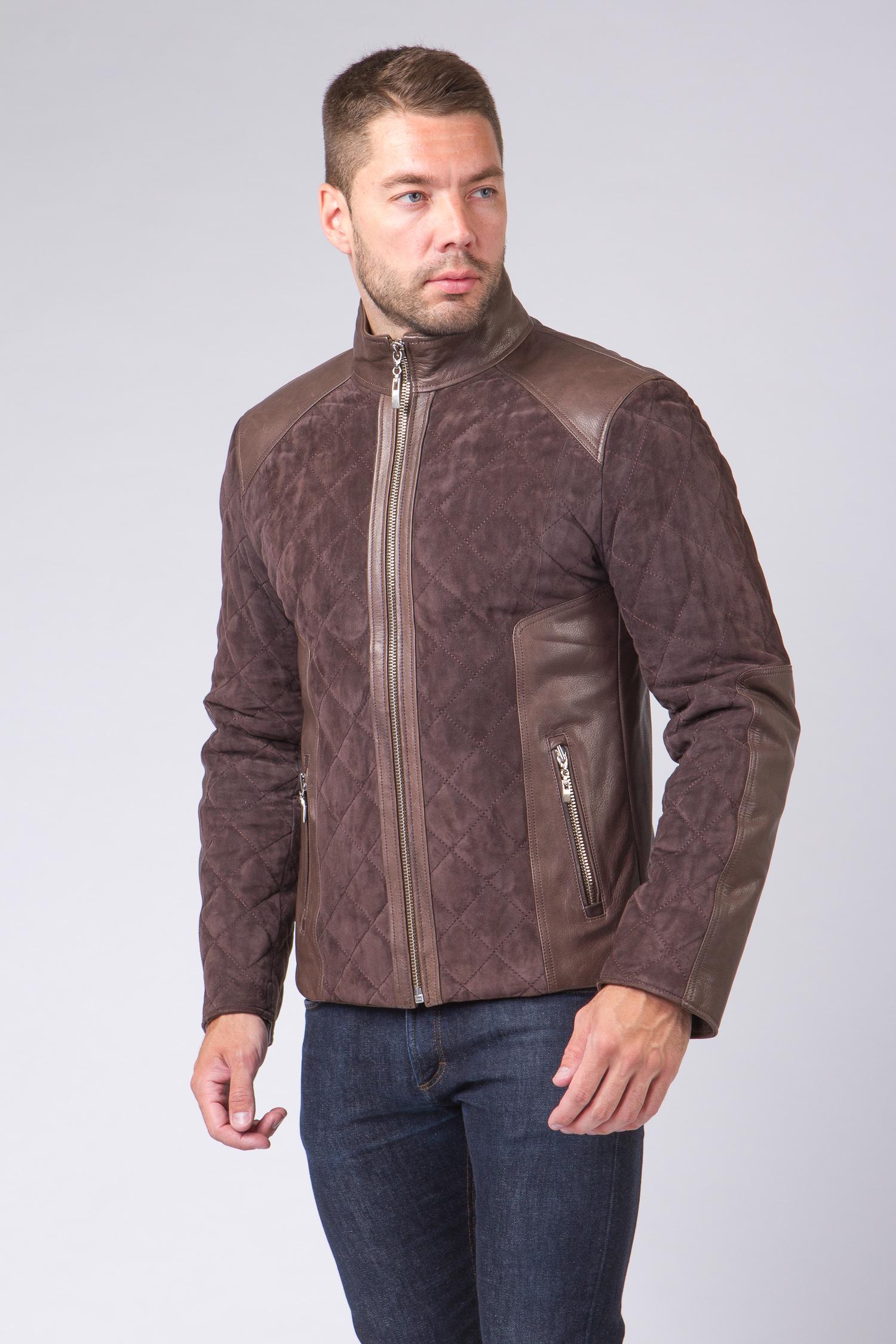 Мужская кожаная куртка из натуральной кожи с воротником, без отделки<br><br>Воротник: стойка<br>Длина см: Короткая (51-74 )<br>Материал: Замша<br>Цвет: коричневый<br>Вид застежки: центральная<br>Застежка: на молнии<br>Пол: Мужской<br>Размер RU: 60