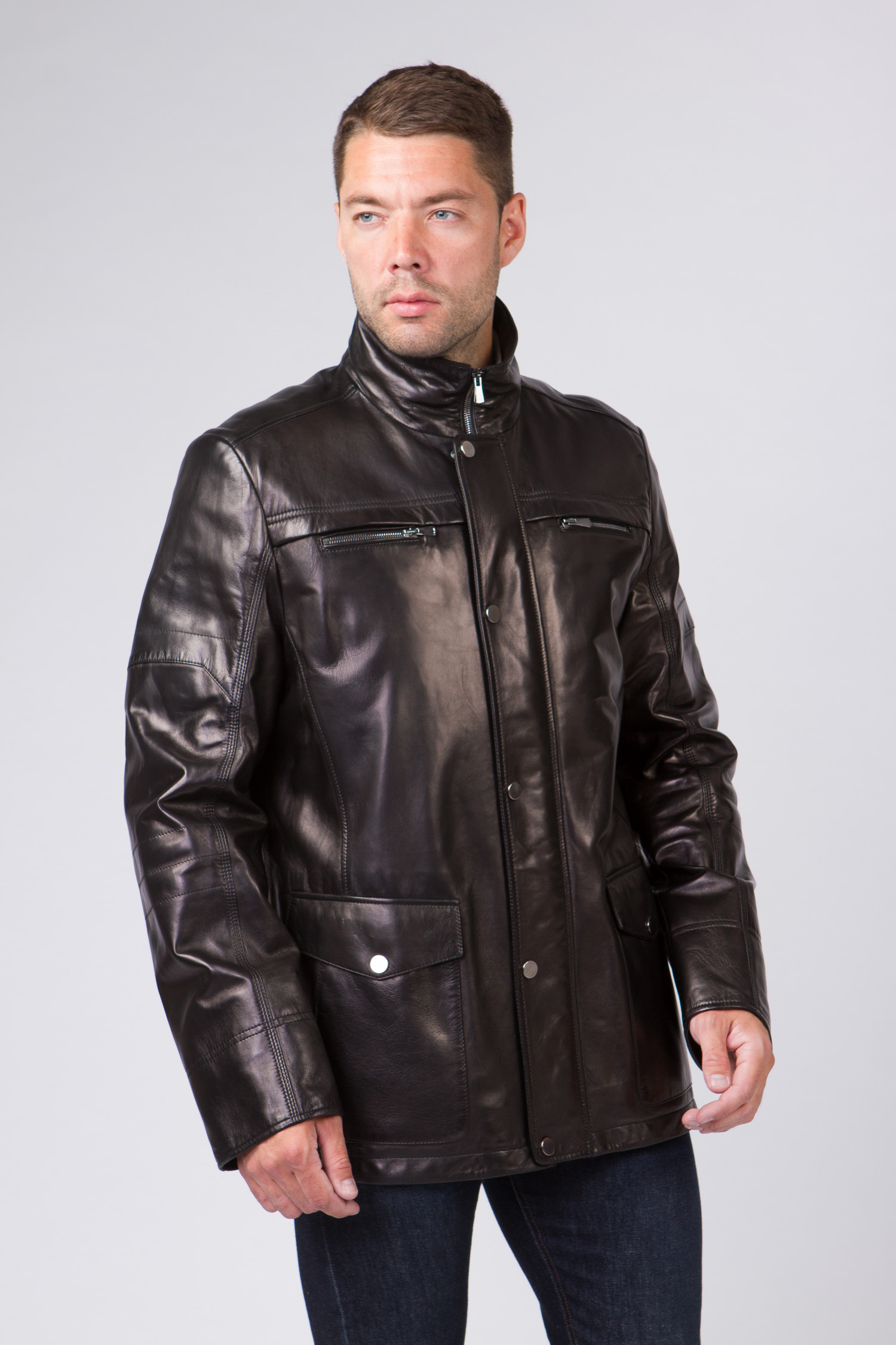 Купить со скидкой Мужская кожаная куртка из натуральной кожи с воротником, без отделки