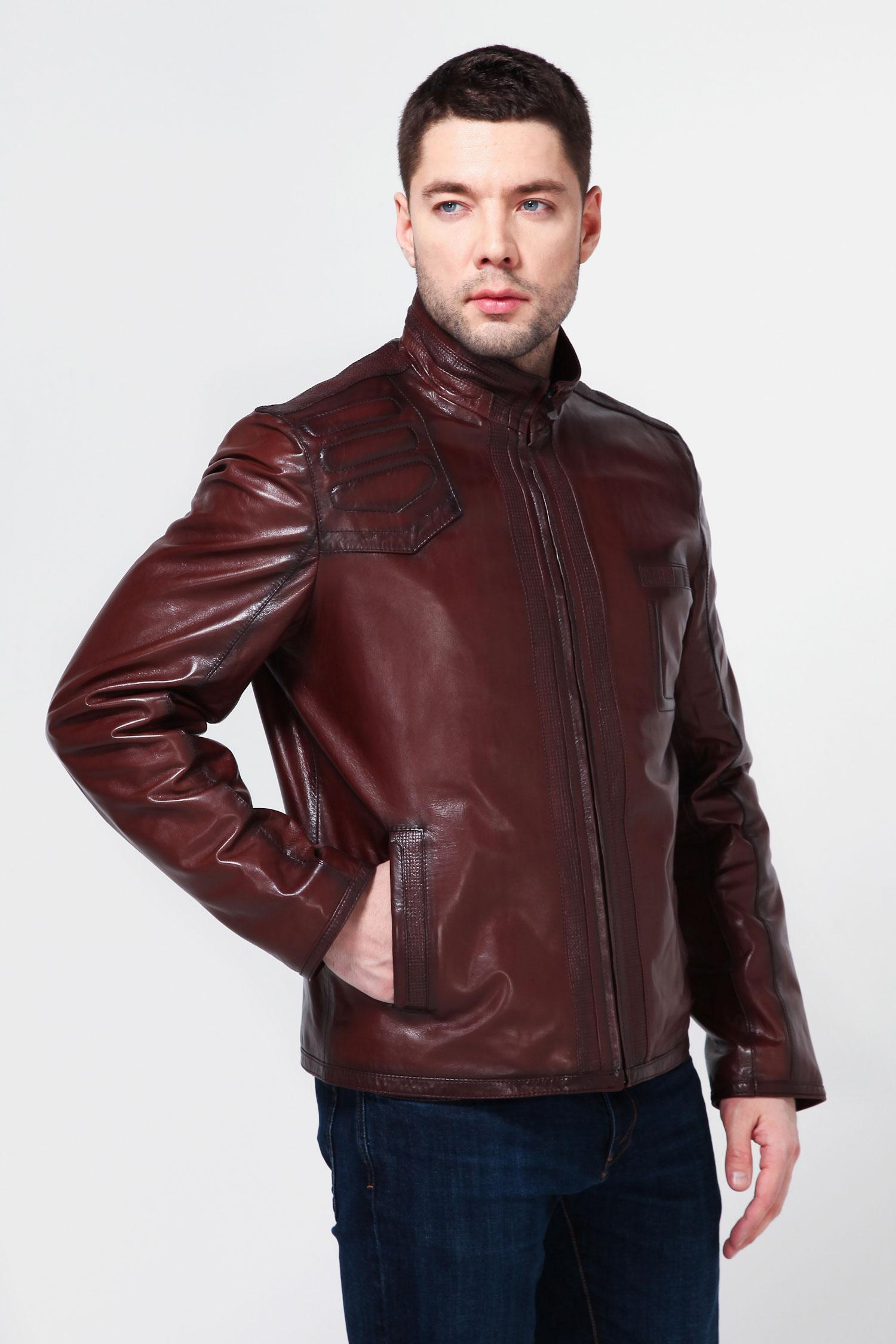 Мужская кожаная куртка из натуральной кожи, без отделки