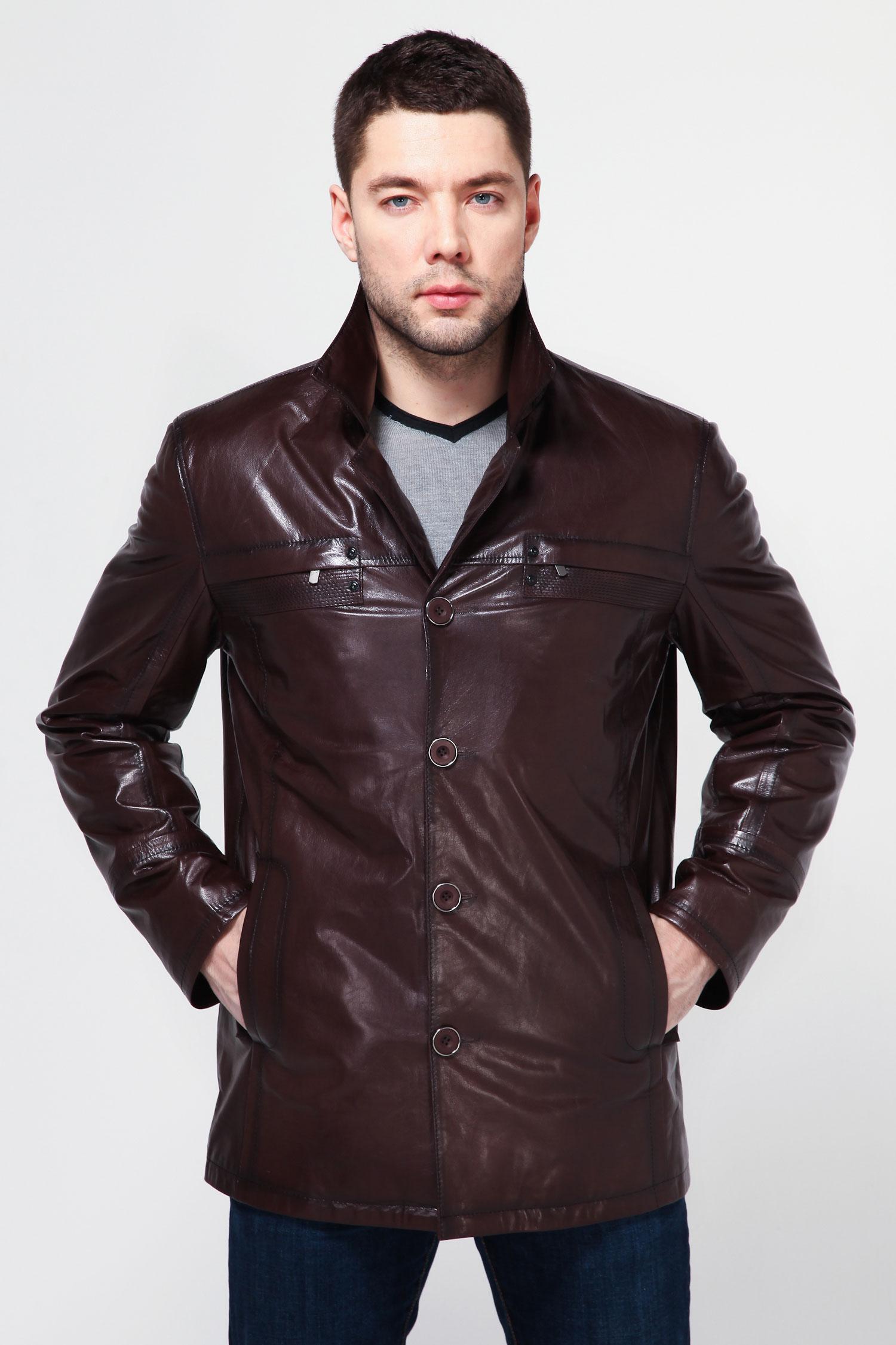 Мужская кожаная куртка из натуральной кожи с воротником, без отделкиАктуальная и классическая куртка - выигрышный вариант для элегантного мужчины. Модель с отложным воротником, застежкой на пуговицы. По бокам - прорезные карманы. Сочетание комфорта и стиля является бесподобным и придется Вам по душе. Стильная вещь!<br><br>Воротник: Английский<br>Длина см: 80<br>Материал: Плонже<br>Цвет: Коричневый<br>Пол: Мужской