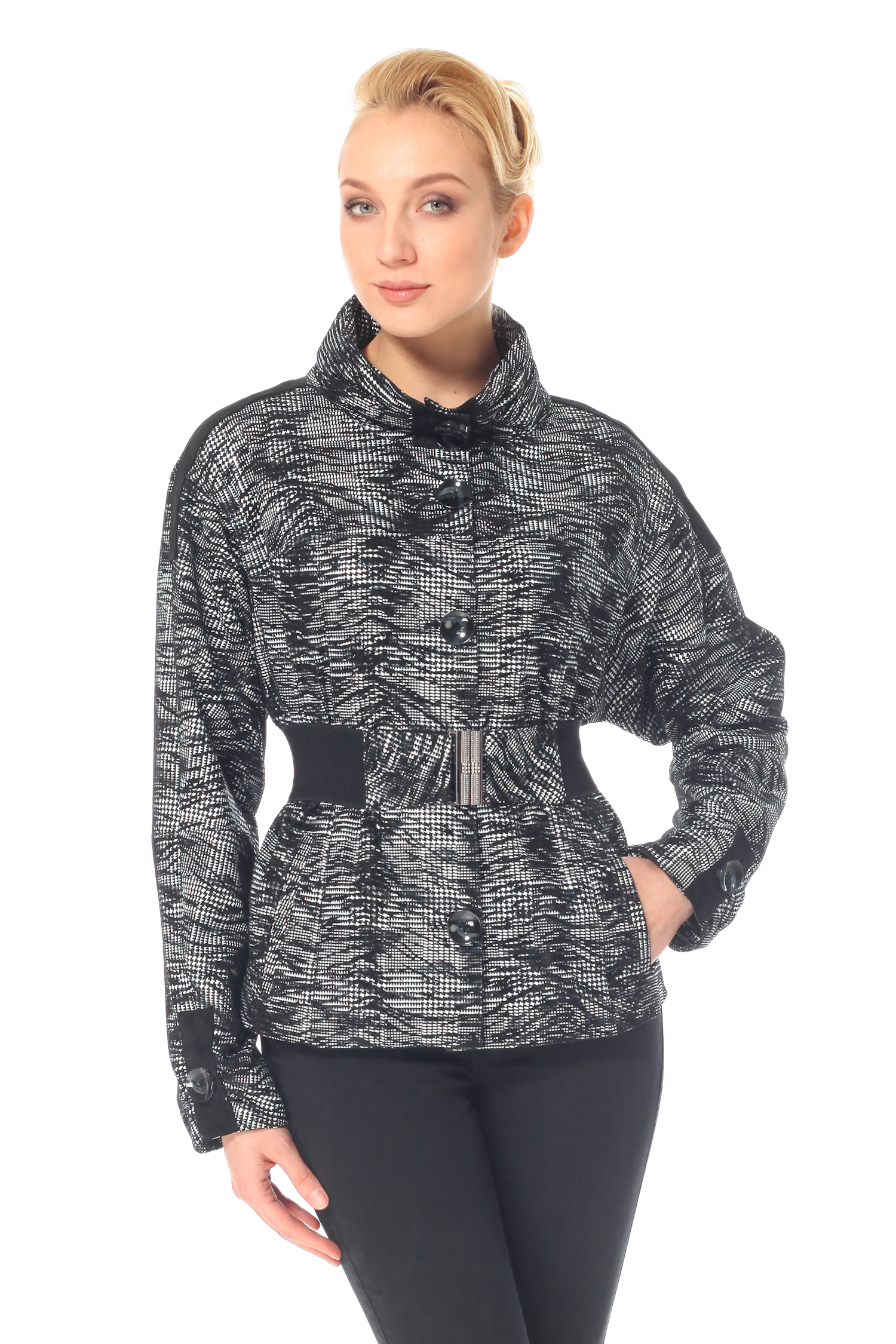 Женская кожаная куртка из натуральной замши (с накатом) с воротником, без отделки