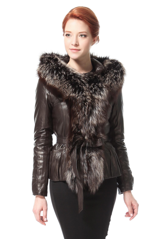 Женская кожаная куртка из натуральной кожи с капюшоном, отделка чернобурка. Производитель: Московская Меховая Компания, артикул: 3554