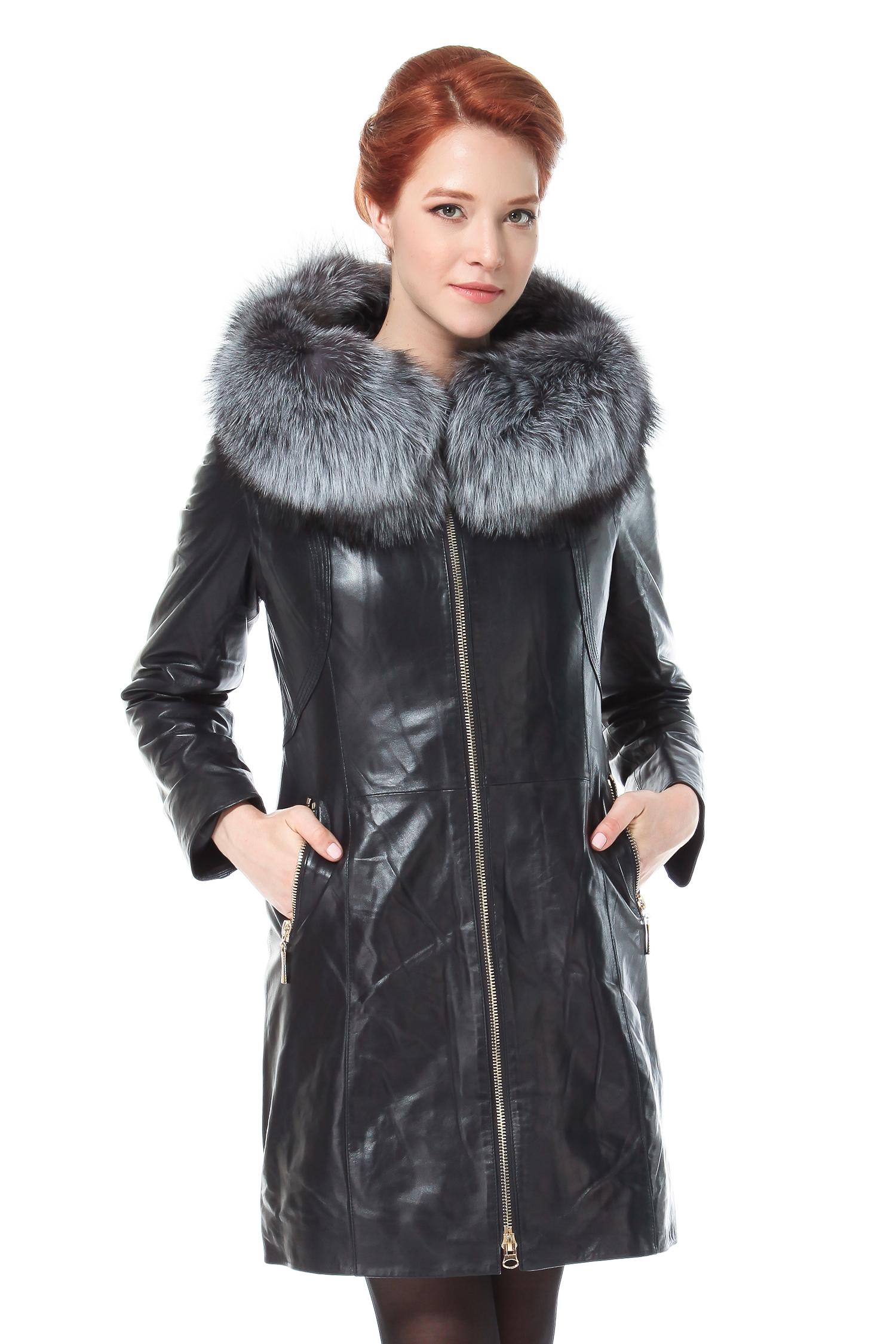 Женское кожаное пальто из натуральной кожи с капюшоном, отделка чернобурка