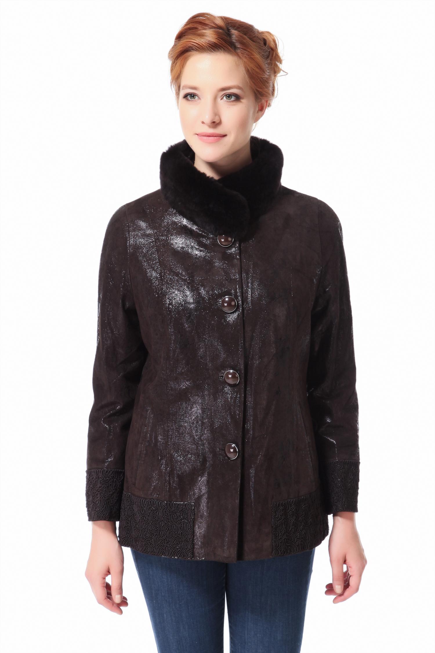 Женская кожаная куртка из натуральной кожи с воротником, отделка кролик