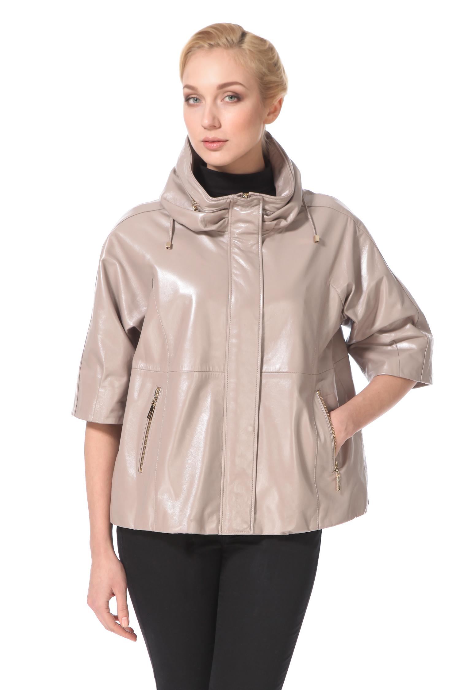 Женская кожаная куртка из натуральной кожи с воротником, без отделки<br><br>Воротник: стойка<br>Длина см: Средняя (75-89 )<br>Материал: Кожа овчина<br>Цвет: бежевый<br>Пол: Женский<br>Размер RU: 54