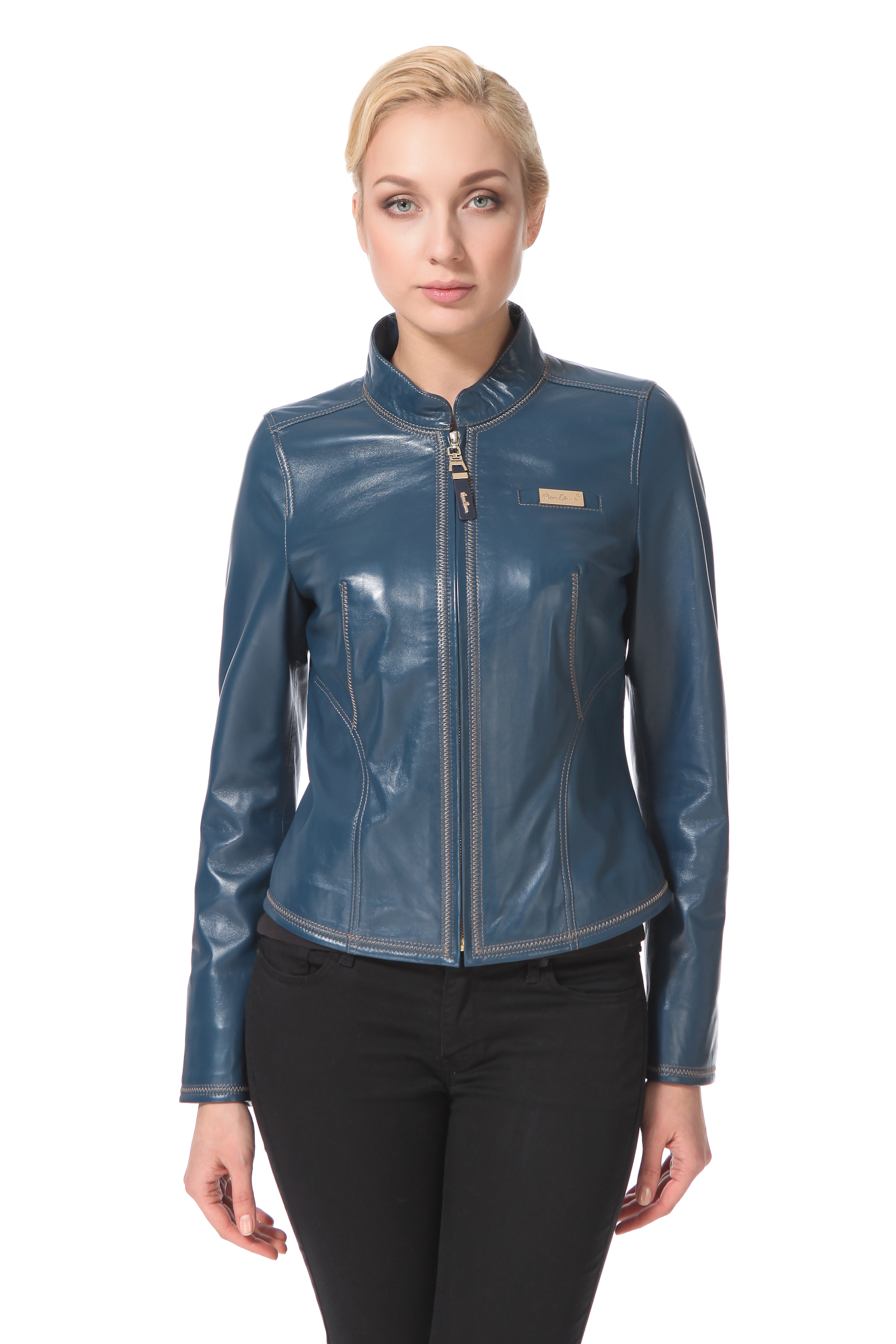 Женская кожаная куртка из натуральной кожи с воротником, без отделки от Московская Меховая Компания