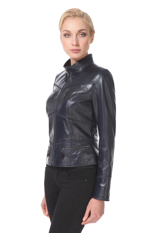 Женская кожаная куртка из натуральной кожи с воротником, без отделки<br><br>Воротник: стойка<br>Длина см: Короткая (51-74 )<br>Материал: Кожа овчина<br>Цвет: синий<br>Пол: Женский<br>Размер RU: 48