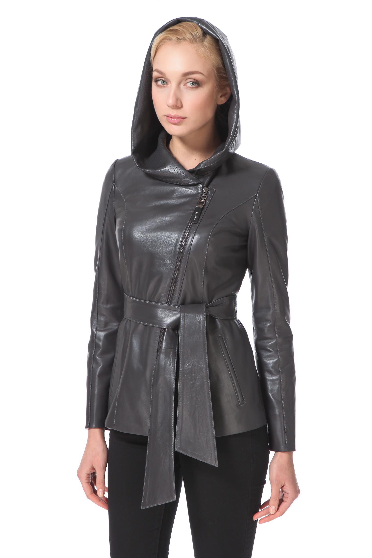 Женская кожаная куртка из натуральной кожи с капюшоном, без отделки<br><br>Воротник: капюшон<br>Длина см: Короткая (51-74 )<br>Материал: Кожа овчина<br>Цвет: серый<br>Пол: Женский<br>Размер RU: 48