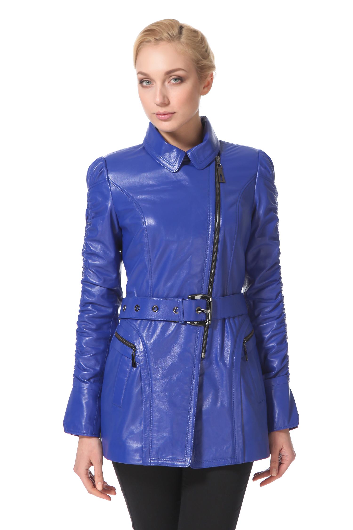 Женская кожаная куртка из натуральной кожи с воротником, без отделки<br><br>Воротник: Английский<br>Длина см: 80<br>Материал: Натуральная кожа<br>Цвет: Синий<br>Пол: Женский
