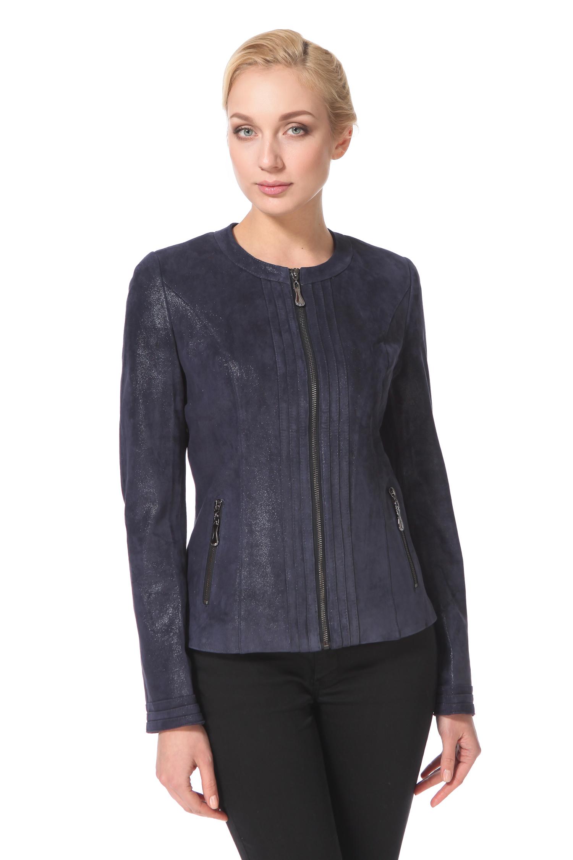 Женская кожаная куртка из натуральной замши, без отделки<br><br>Длина см: Короткая (51-74 )<br>Материал: Замша<br>Цвет: синий<br>Застежка: на молнии<br>Пол: Женский<br>Размер RU: 48