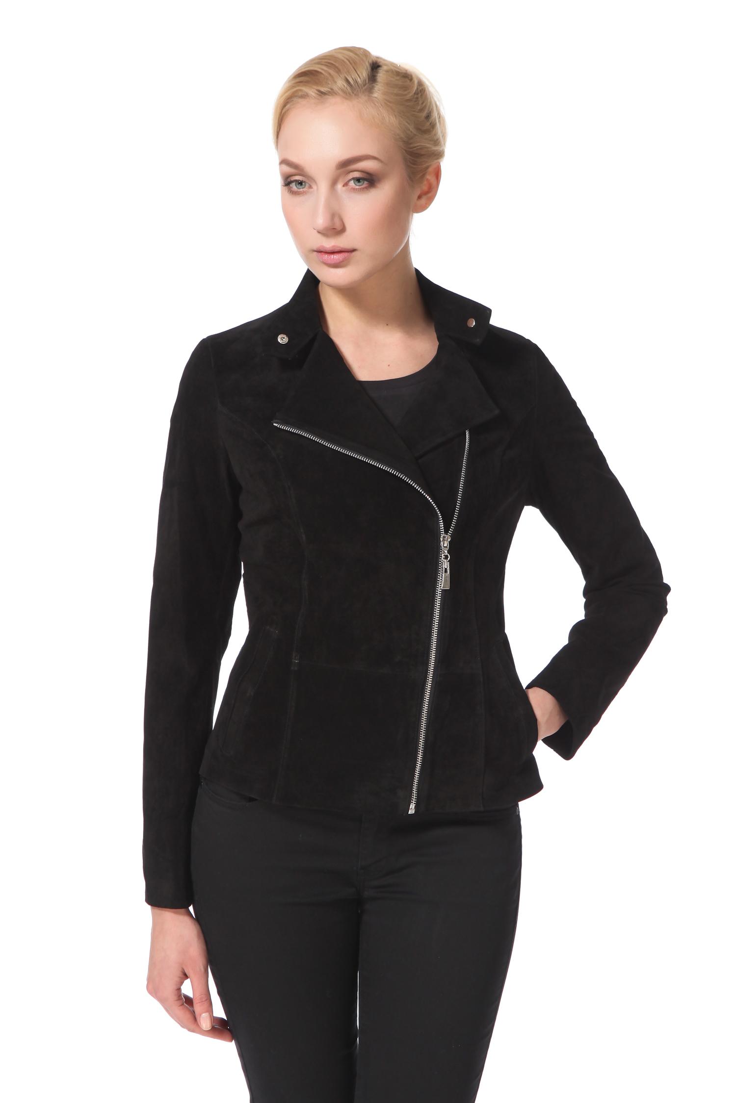 Женская кожаная куртка из натуральной замши с воротником, без отделки<br><br>Воротник: стойка<br>Длина см: Короткая (51-74 )<br>Материал: Замша<br>Цвет: черный<br>Застежка: молния<br>Пол: Женский<br>Размер RU: 46